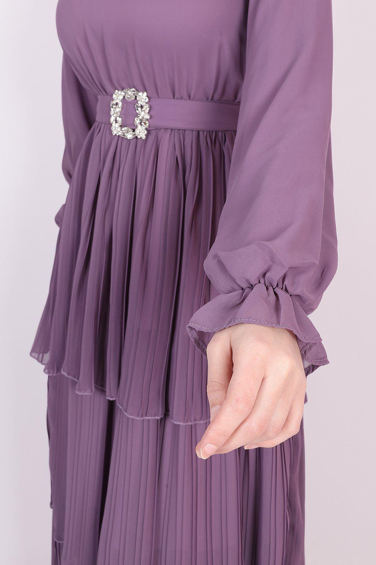 Kadın Taşlı Kuşaklı Kat Kat Pileli Elbise - Lila
