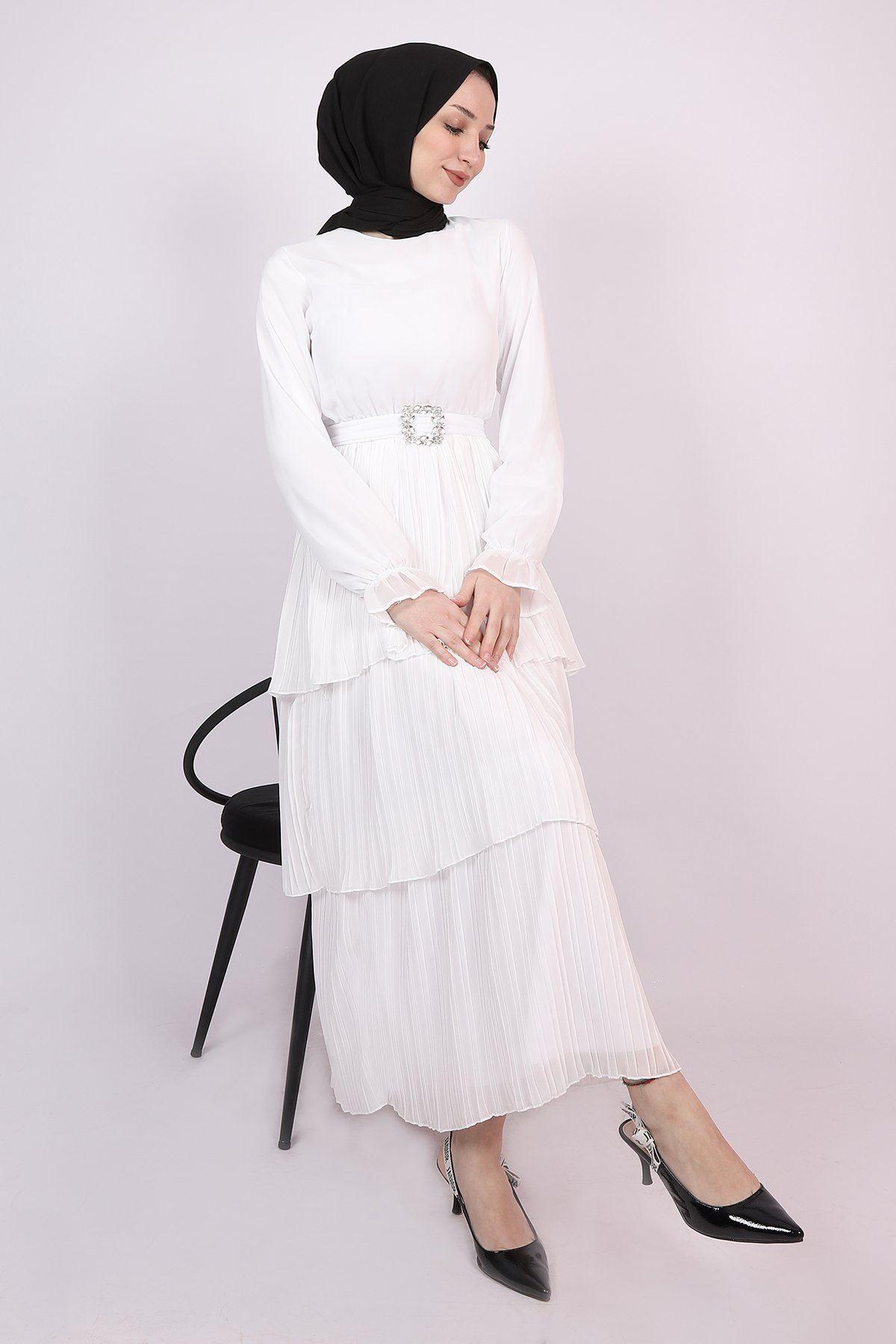 Kadın Taşlı Kuşaklı Kat Kat Pileli Elbise - Beyaz