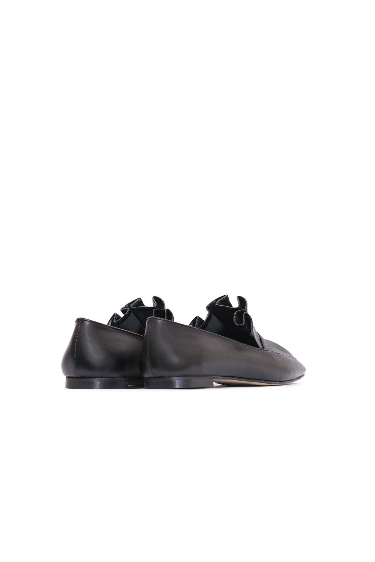 Kadın Piliseli Loafer Ayakkabı - Siyah