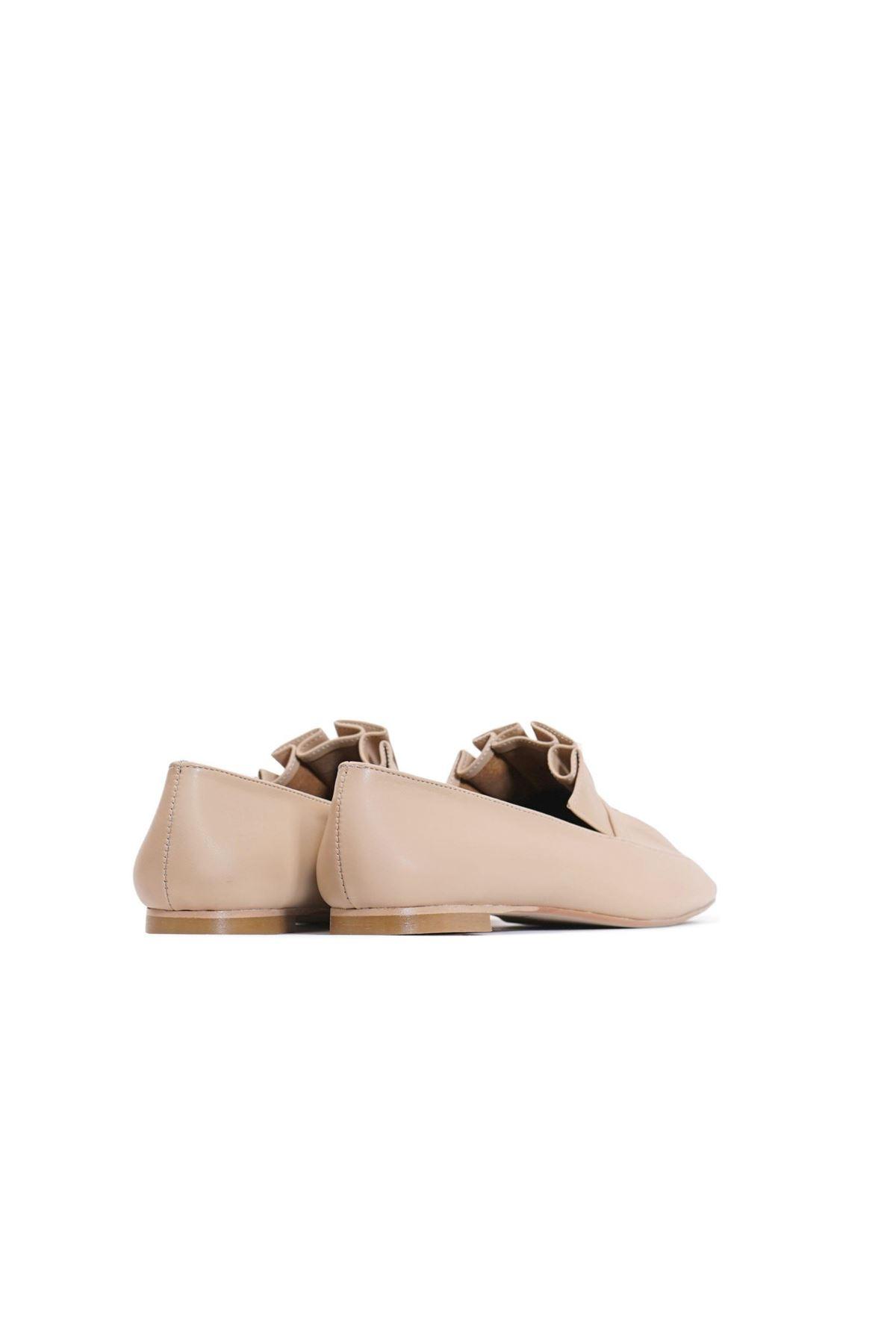 Kadın Piliseli Loafer Ayakkabı - Bej