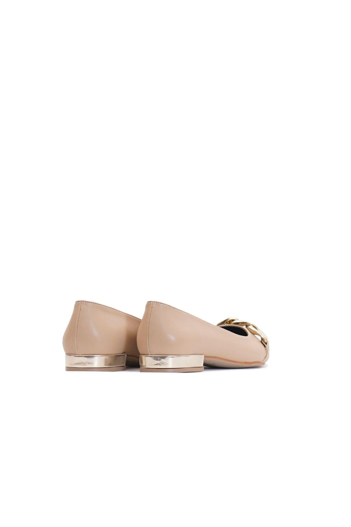 Kadın Zincir Detaylı Loafer Ayakkabı - Bej