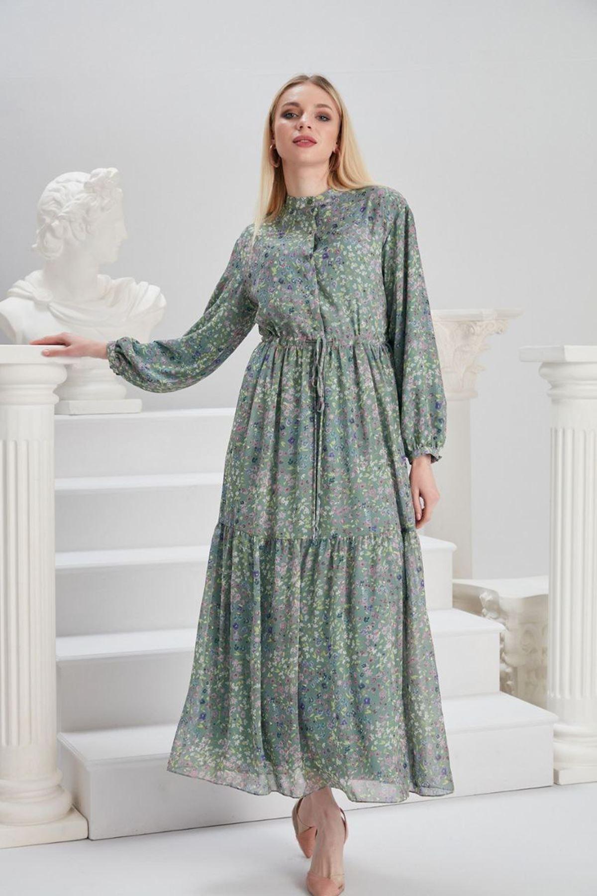 Kadın Beli Bağıcıklı Desenli Elbise - Yeşil