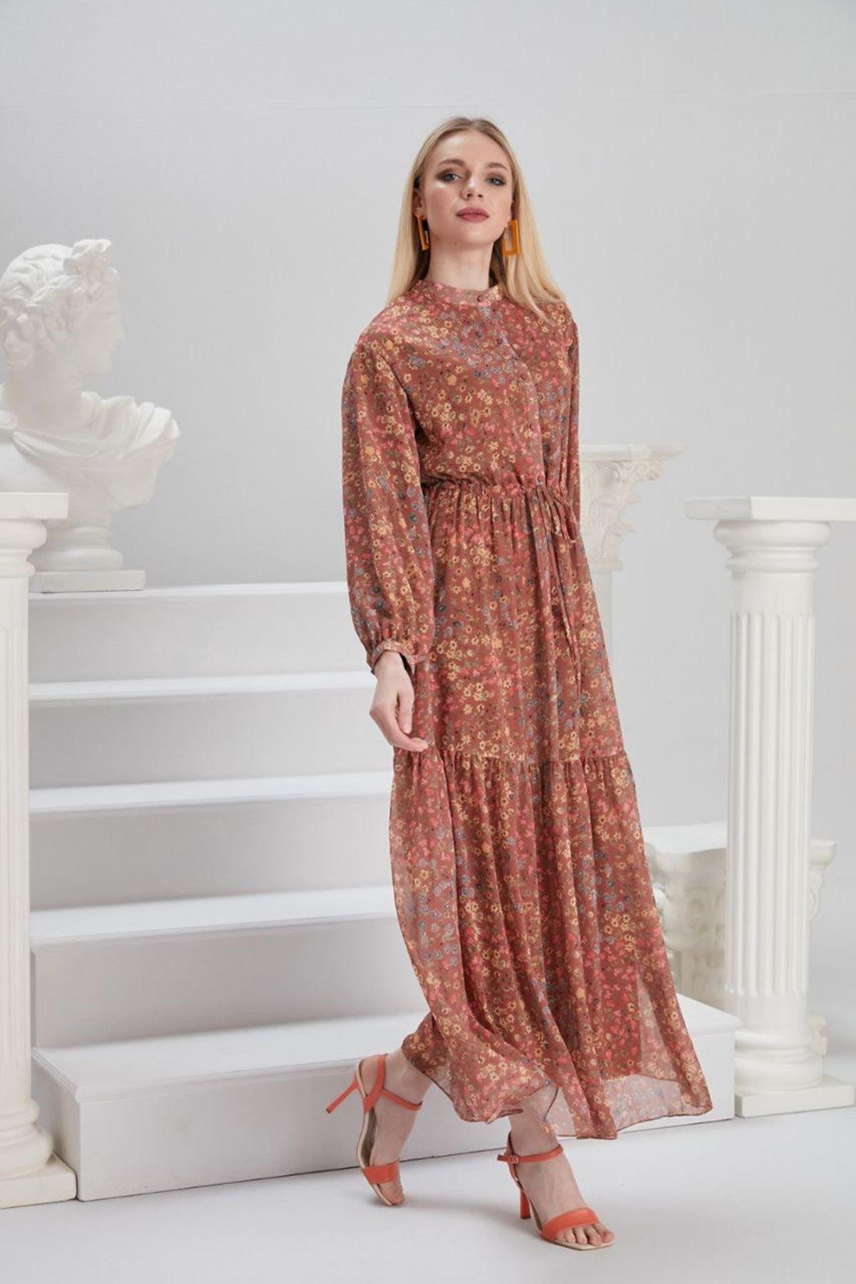 Kadın Beli Bağıcıklı Desenli Elbise - Kiremit