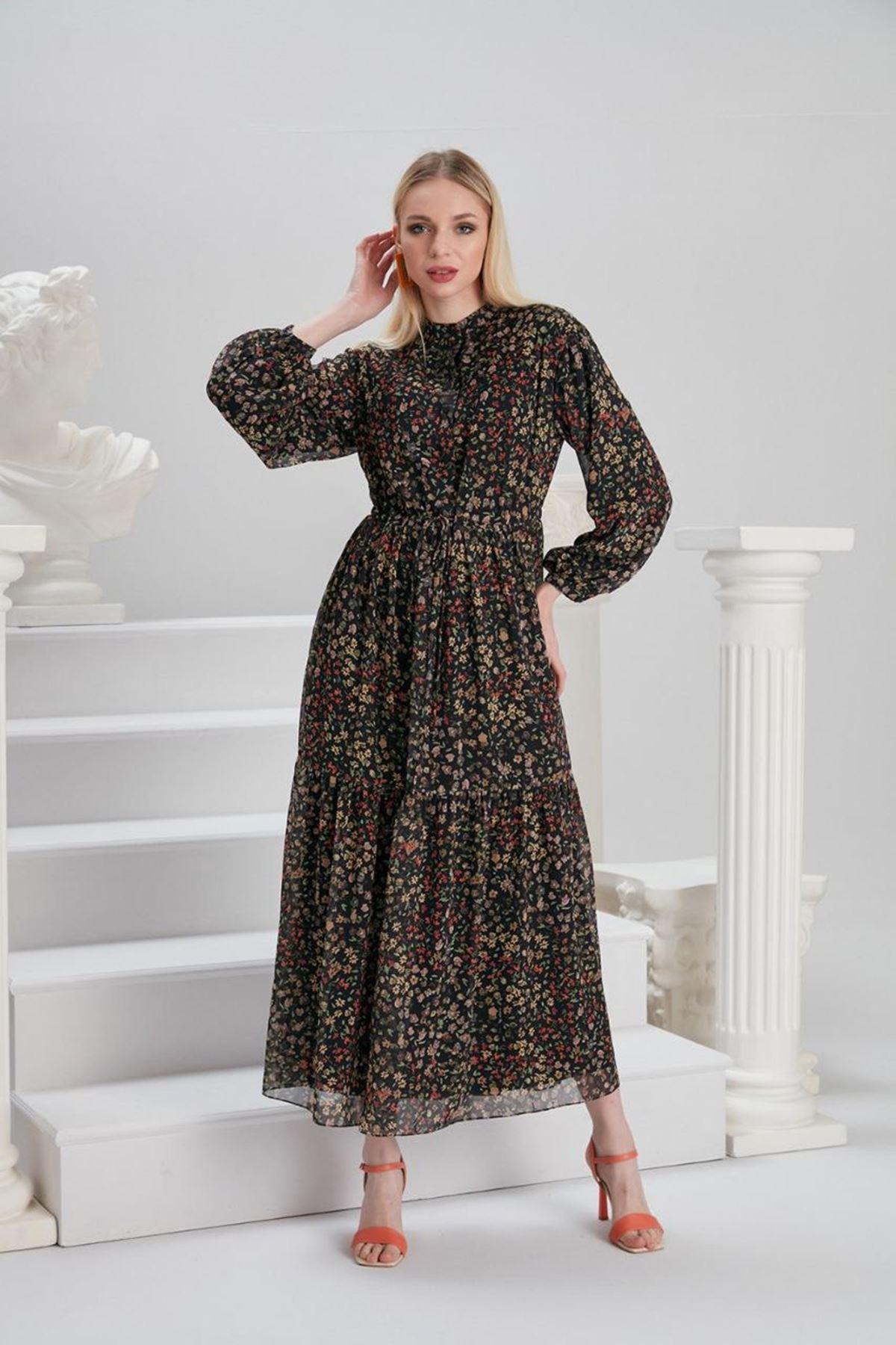 Kadın Beli Bağıcıklı Desenli Elbise - Siyah