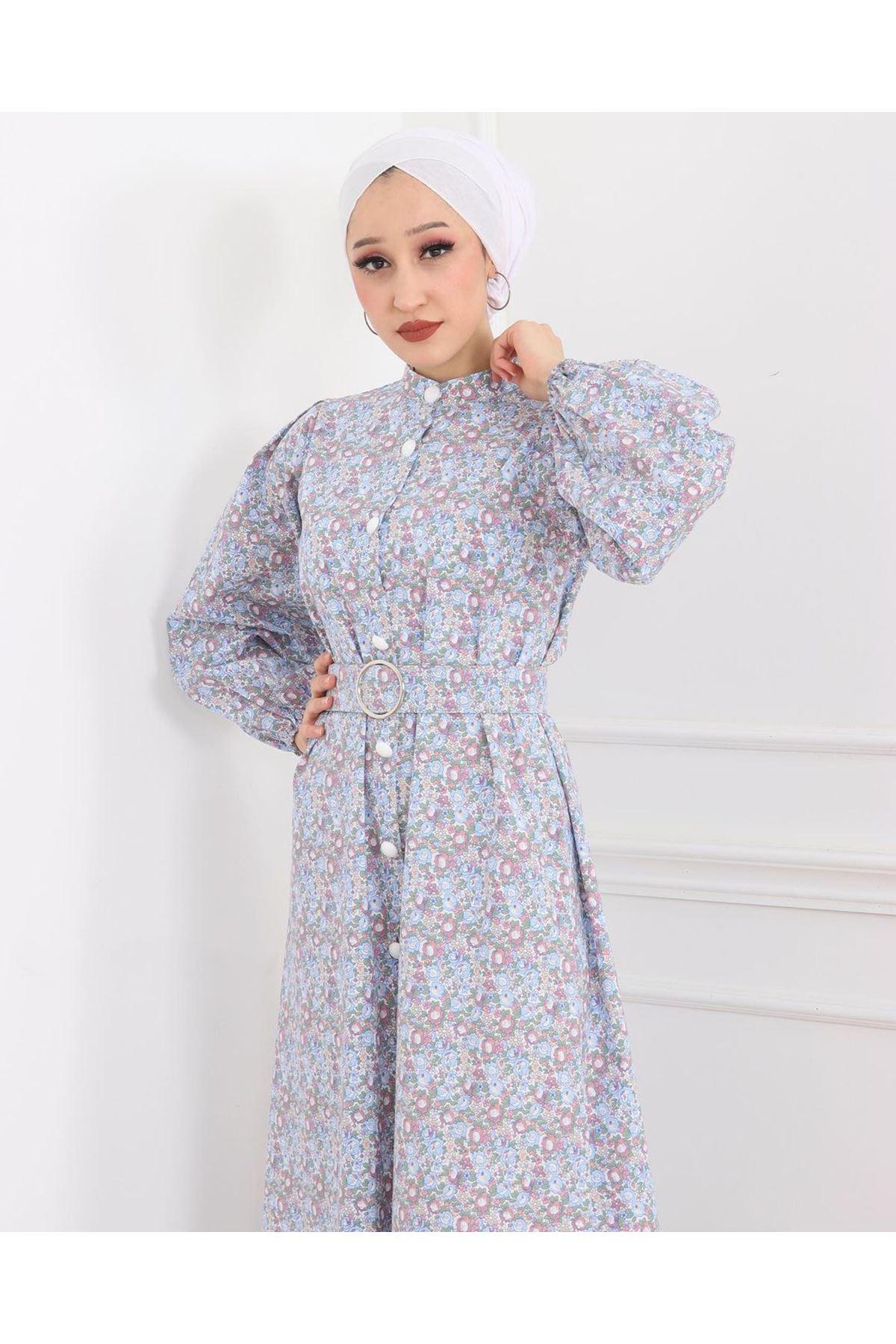 Kadın Çiçek Desenli Boydan Düğmeli Kemerli Elbise - Bebe Mavisi