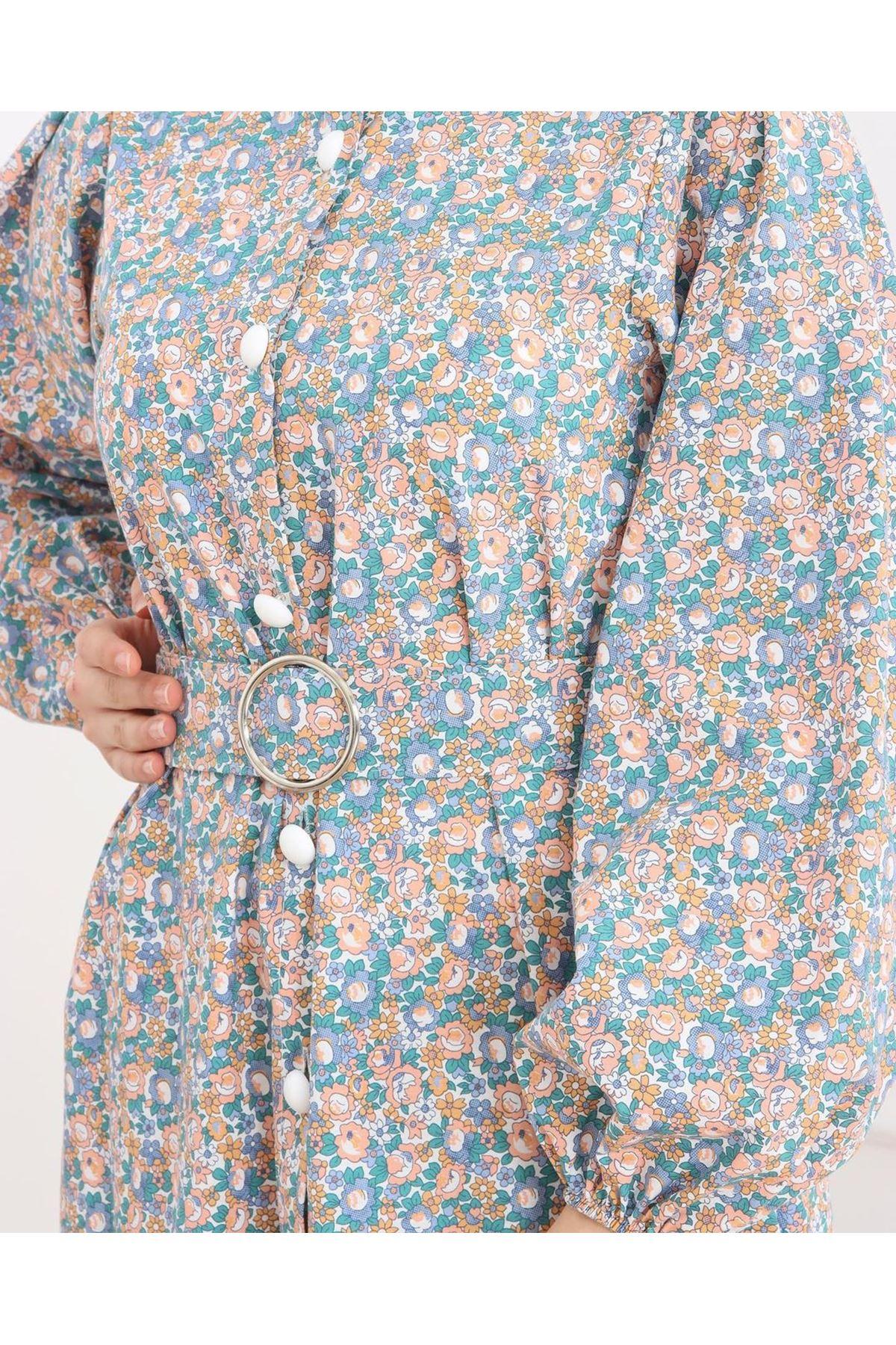 Kadın Çiçek Desenli Boydan Düğmeli Kemerli Elbise - Mint Yeşili