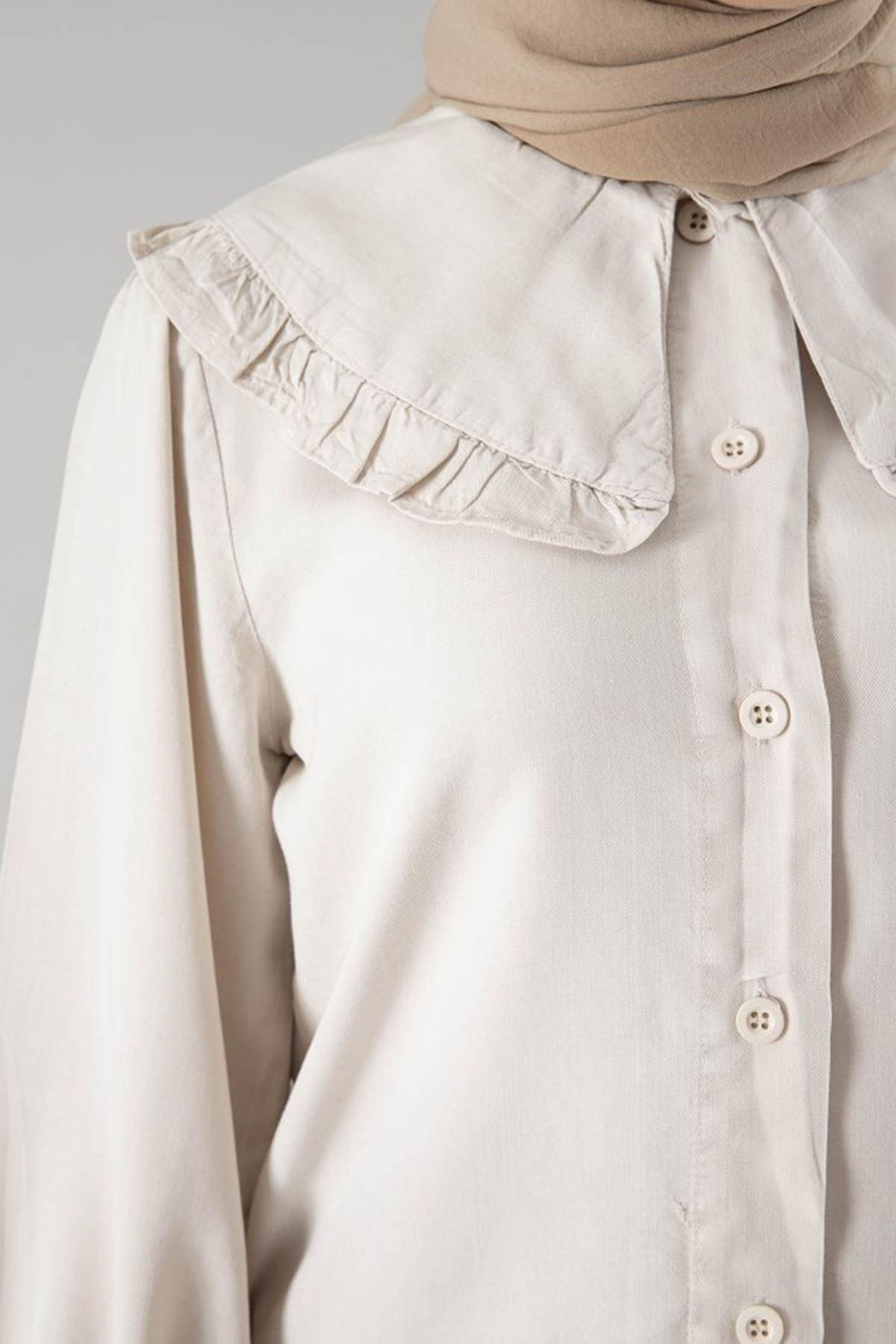 Kadın Bebe Yaka Kol Büzgülü Tensel Bluz - Bej