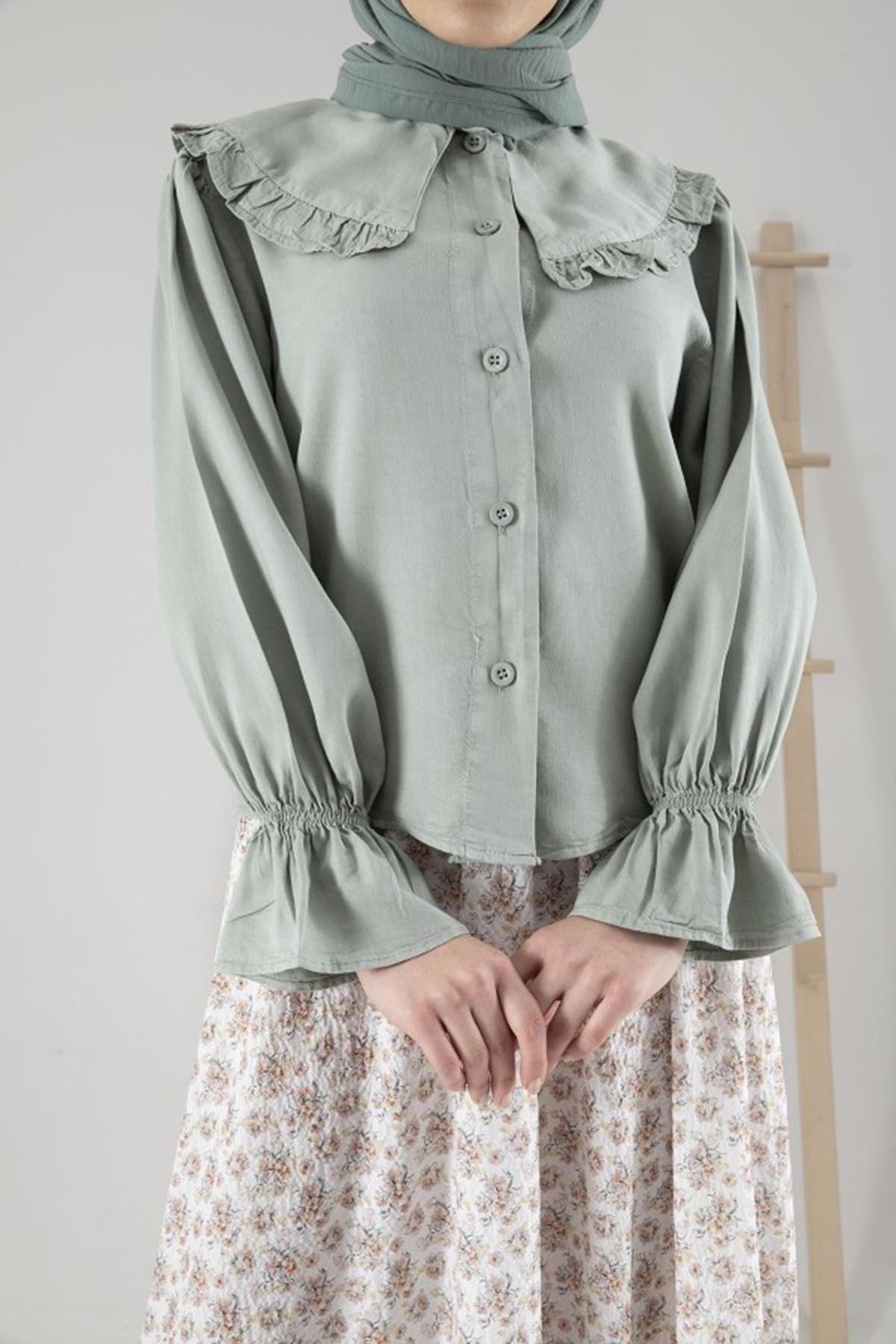 Kadın Bebe Yaka Kol Büzgülü Tensel Bluz - Çağla