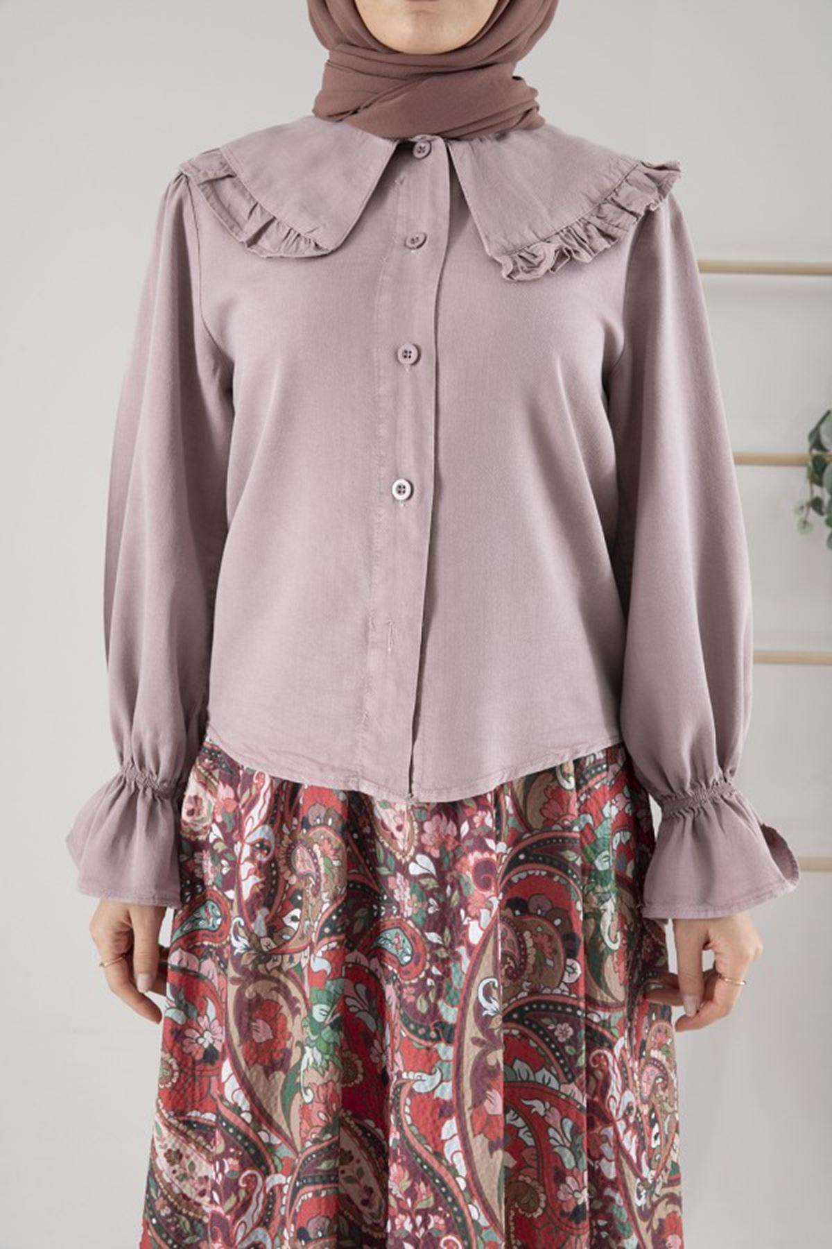Kadın Bebe Yaka Kol Büzgülü Tensel Bluz - Lila