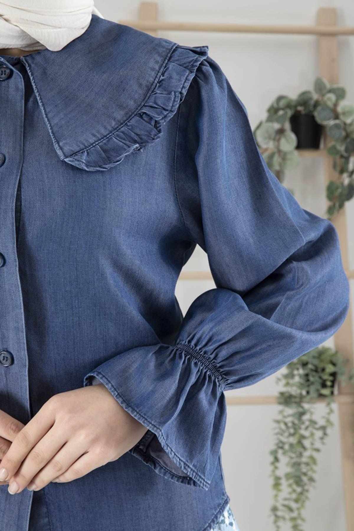 Kadın Bebe Yaka Kol Büzgülü Tensel Bluz - Mavi