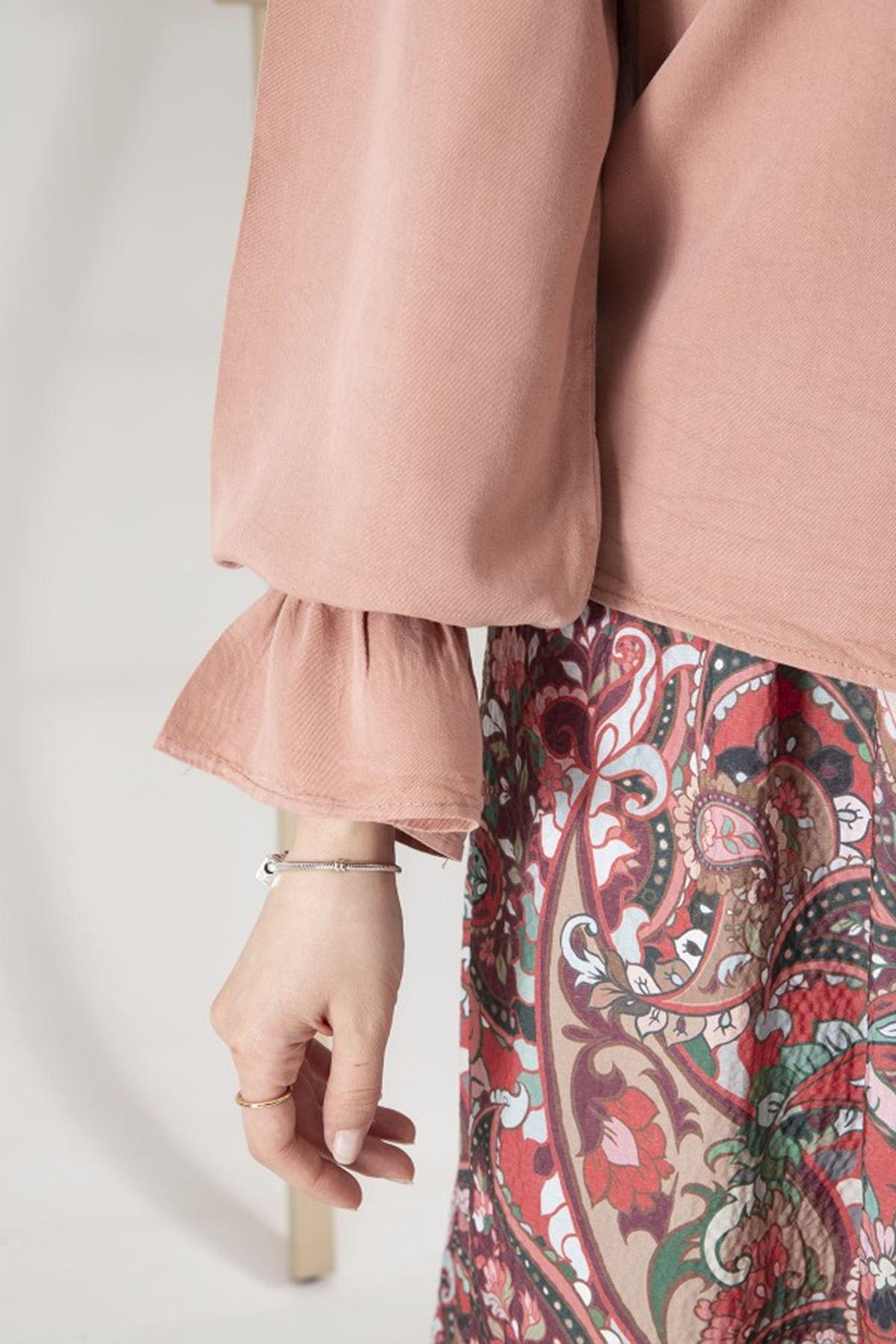 Kadın Bebe Yaka Kol Büzgülü Tensel Bluz - Pudra