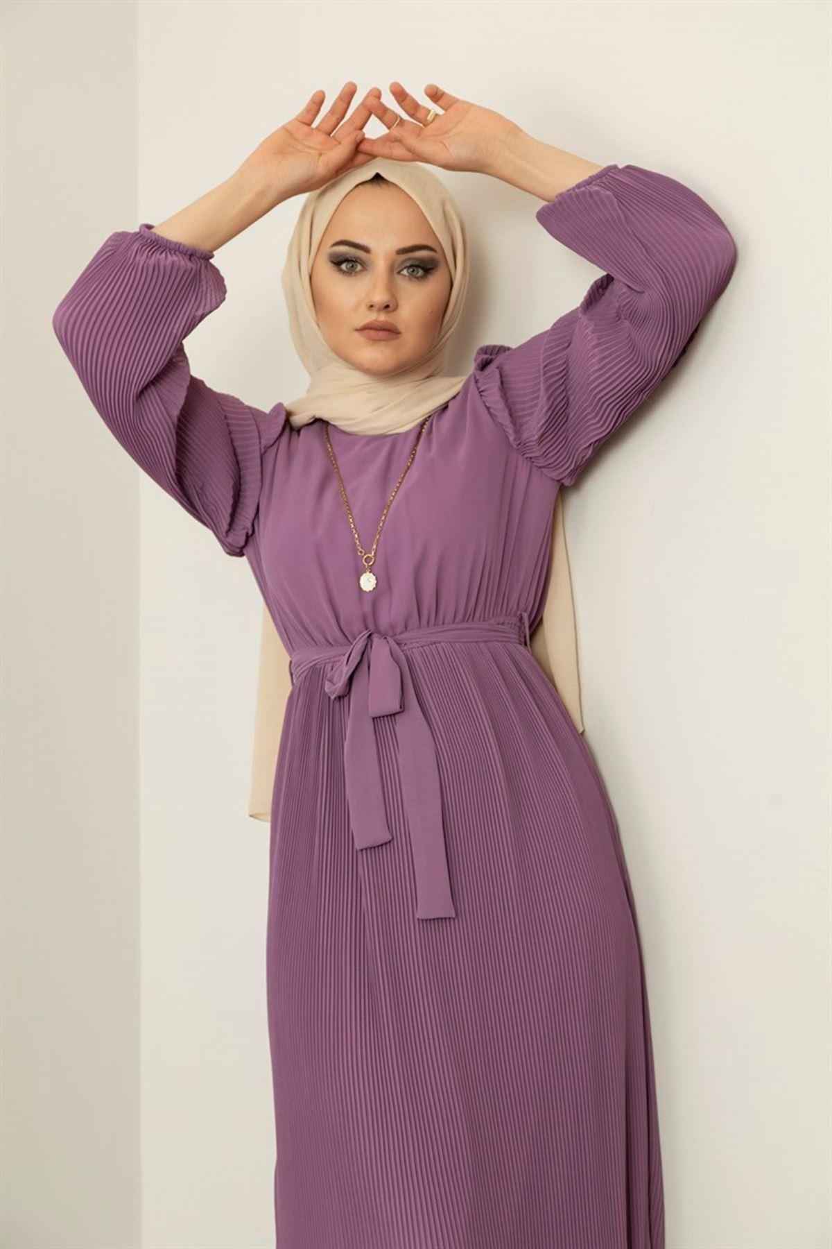 Kol ve Eteği Pileli Elbise - Lila