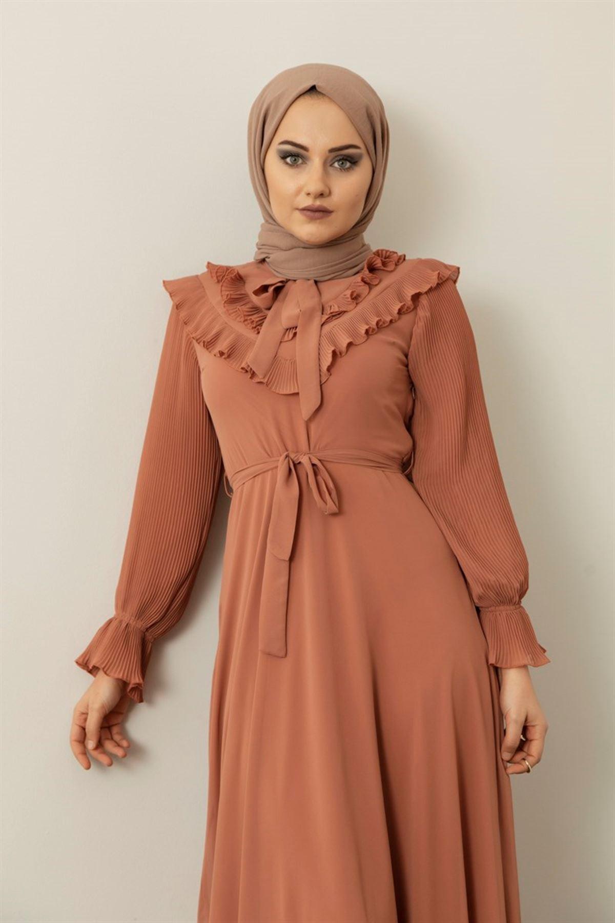 Kadın Pilise Fırfır Detaylı Elbise - Somon
