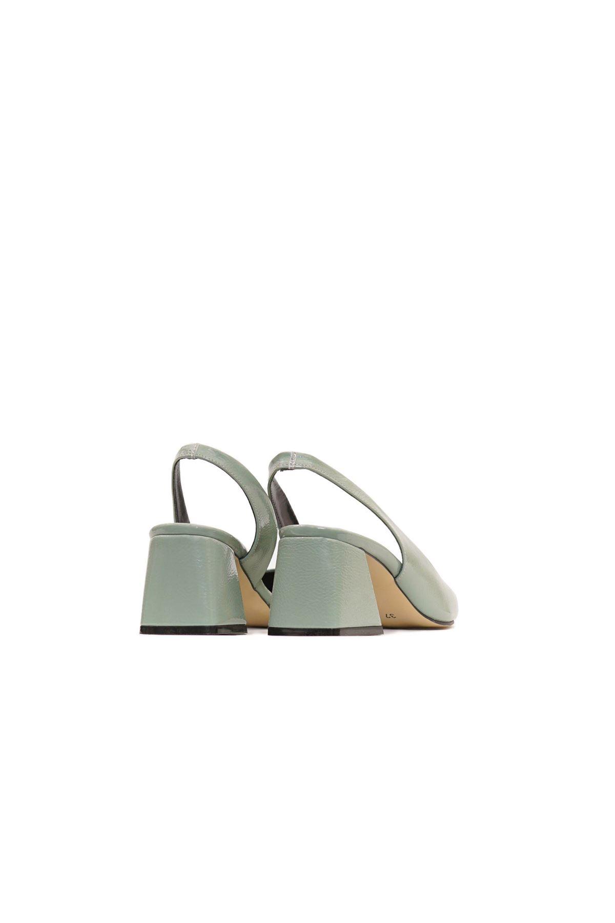 Kadın Kırışık Rugan Ayakkabı - Mint Yeşili