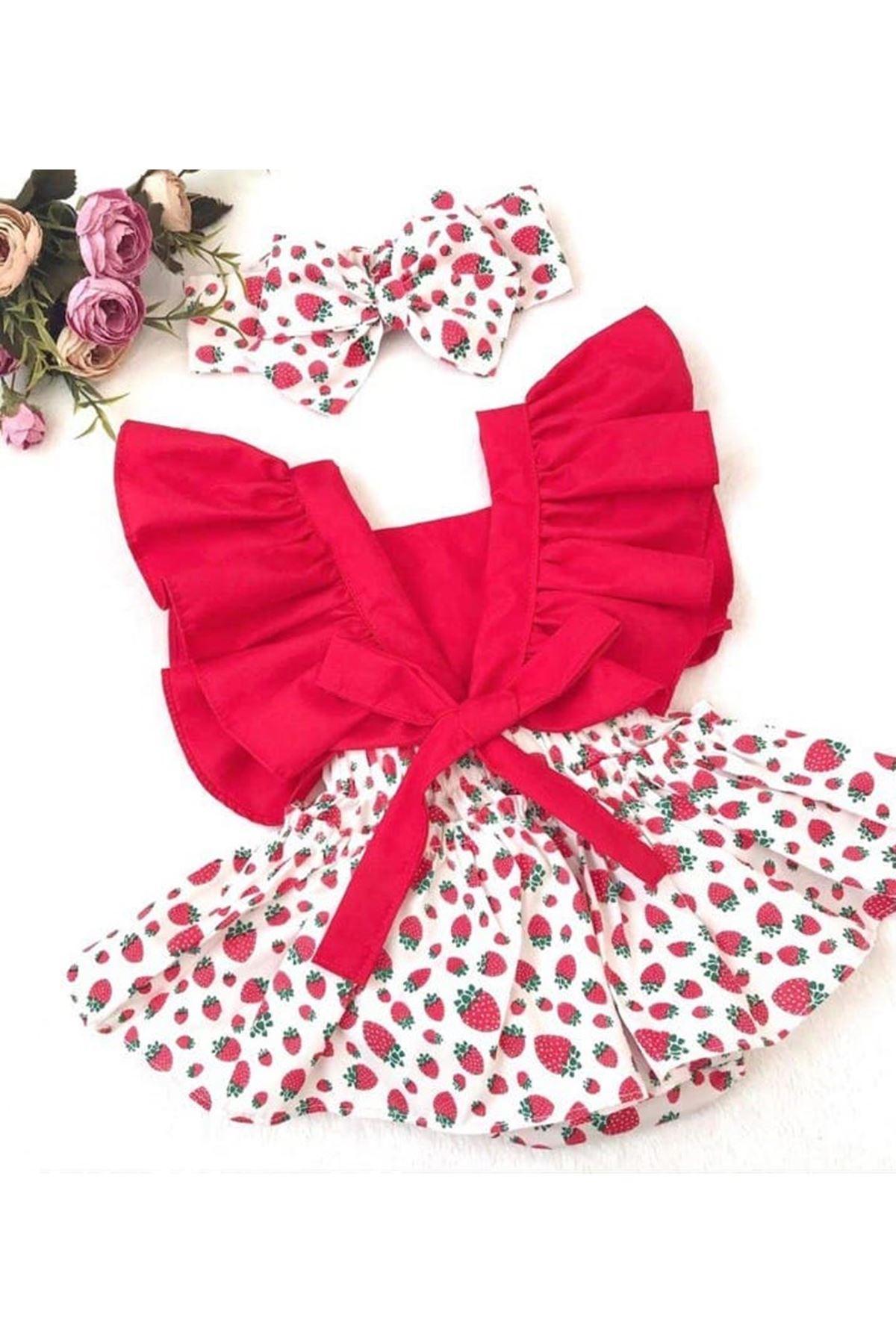 Baby Tuğra Kız Bebek Salopet Elbise - Kırmızı