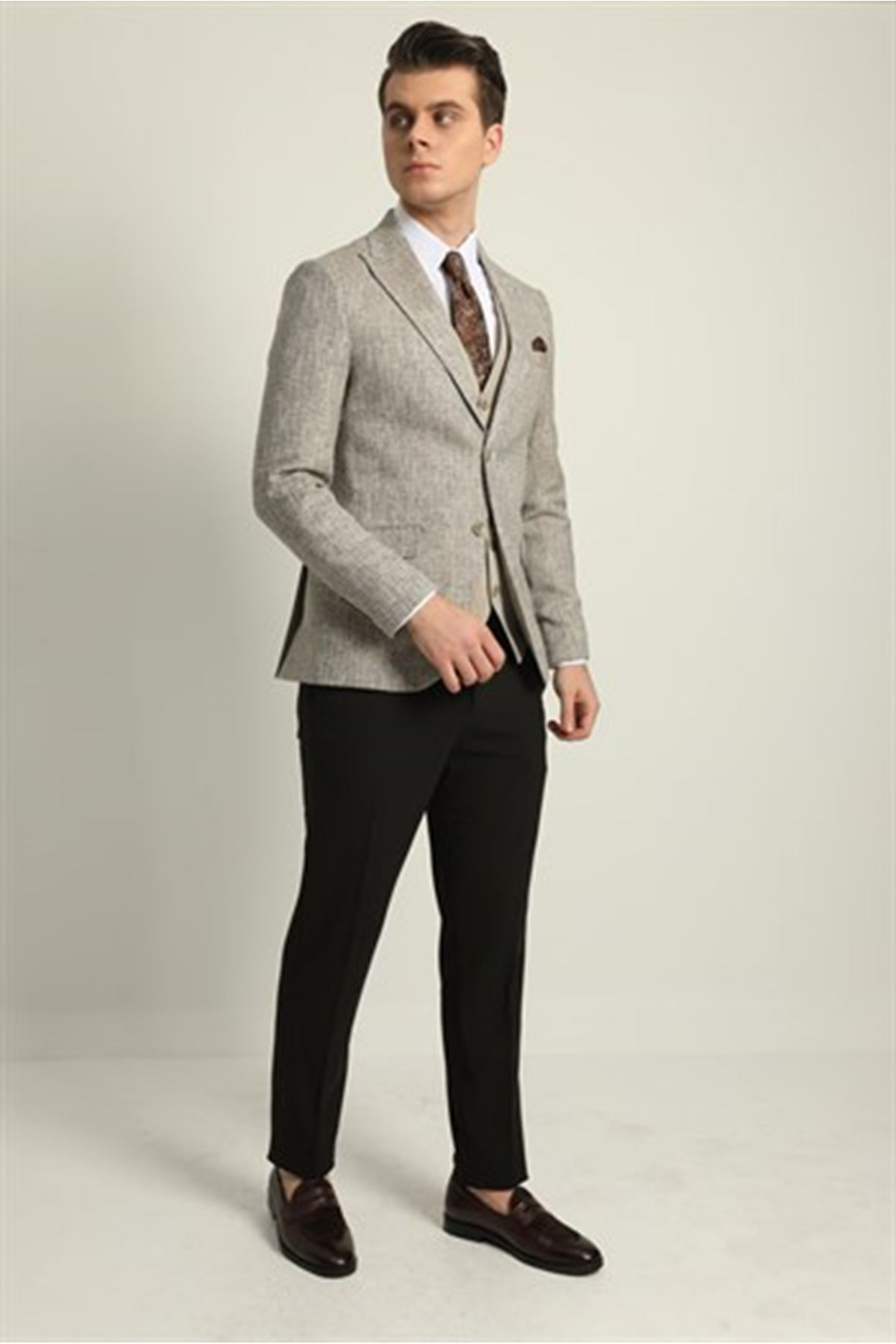 Erkek Kombinli Yelekli Takım Elbise - Bej