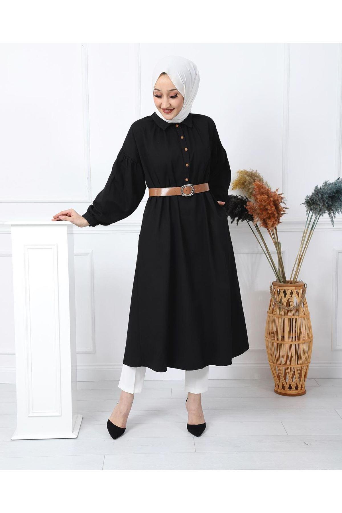 Kadın Kabardin Uzun Tunik - Siyah