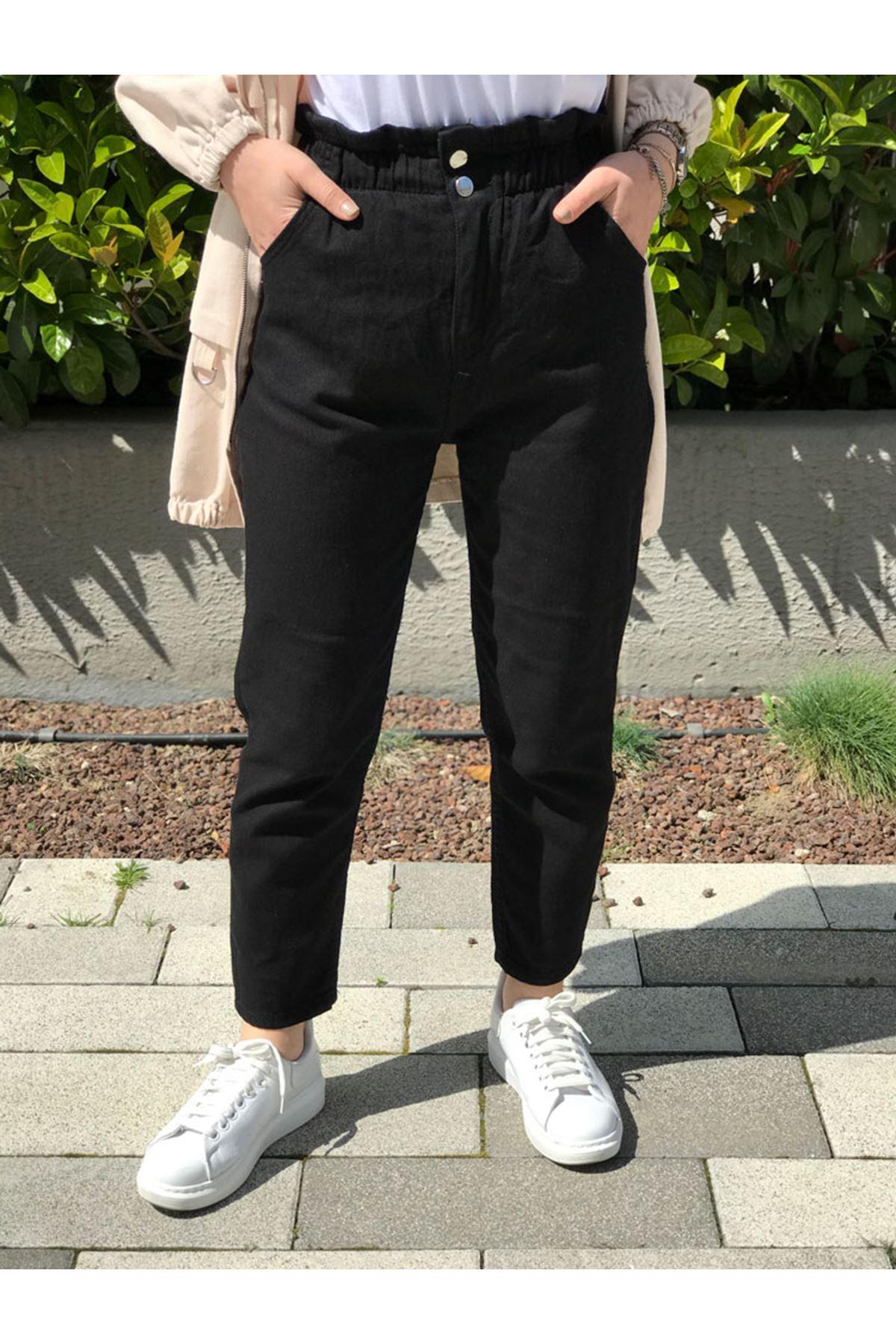 Kadın Beli Büzgülü Lastikli Jean Pantolon - Siyah