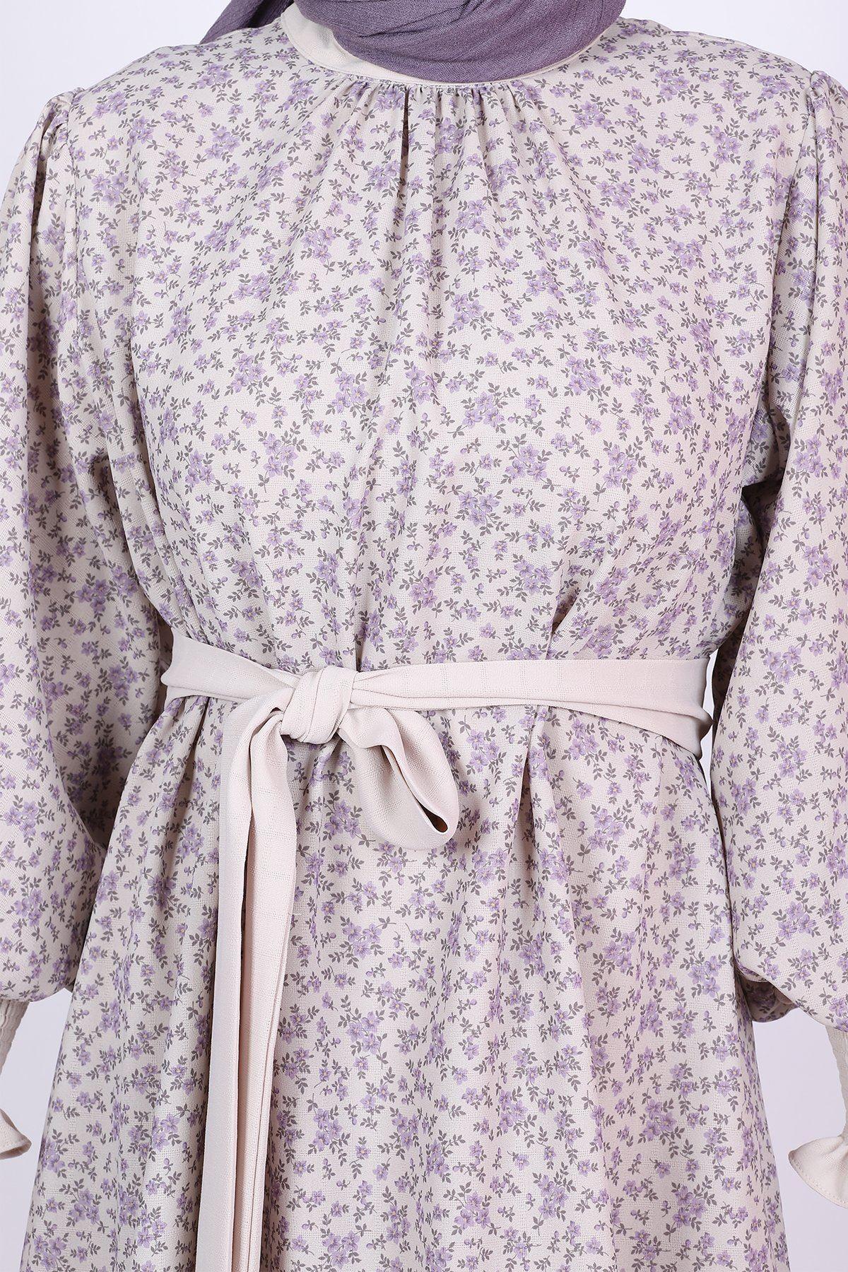 Kadın Çiçekli Büzgülü Balon Kol Takım Elbise - Lila