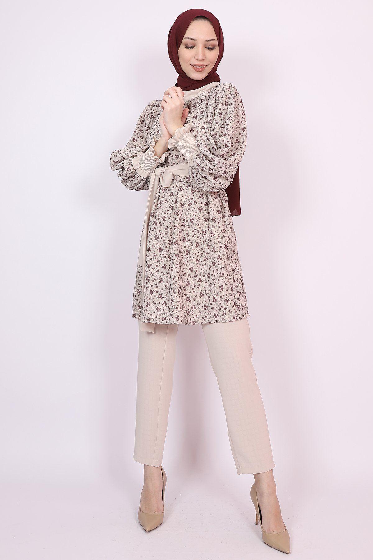 Kadın Çiçekli Büzgülü Balon Kol Takım Elbise - Açık Kahve