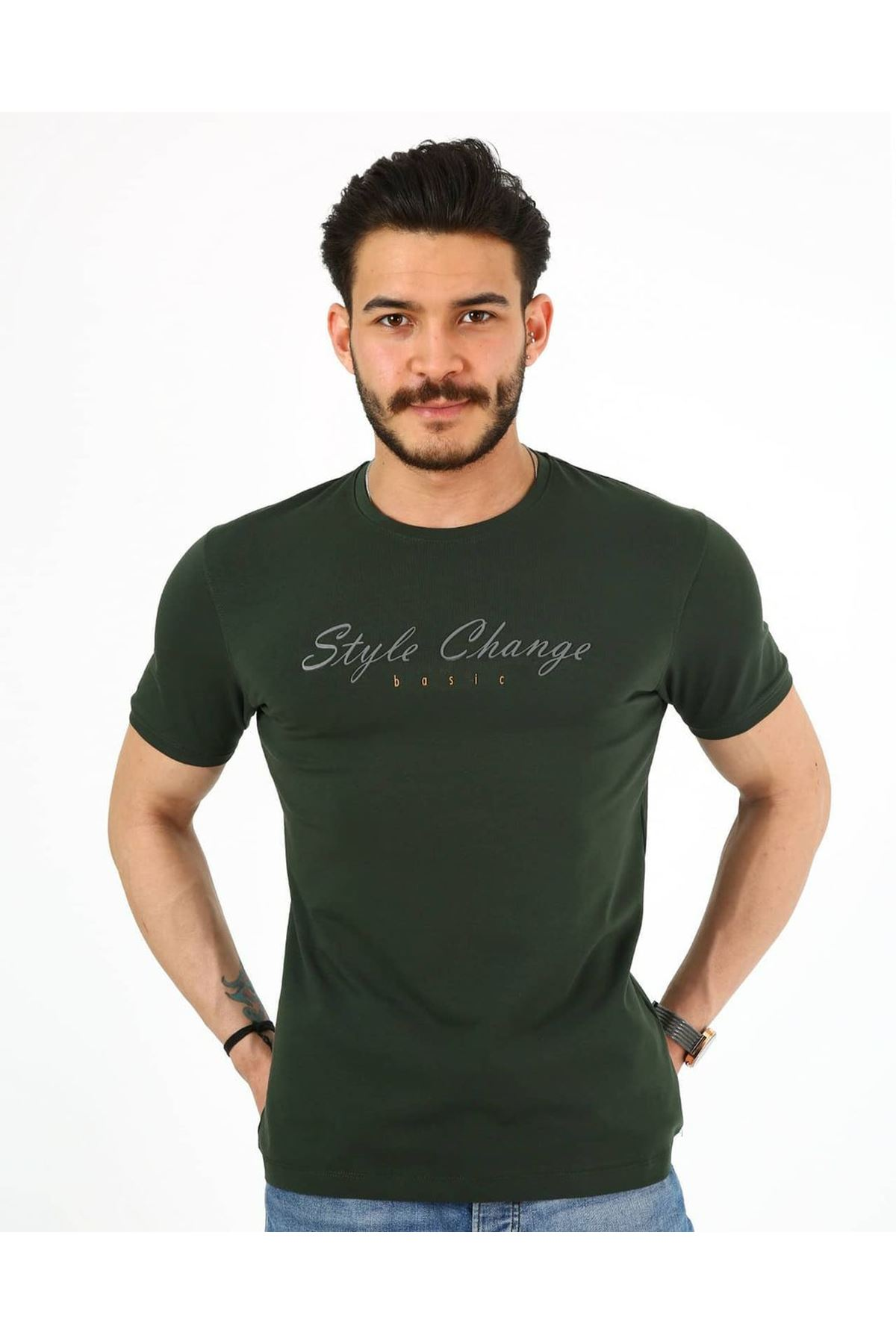 Erkek Style Change Kabartma Basic T-Shirt - Haki
