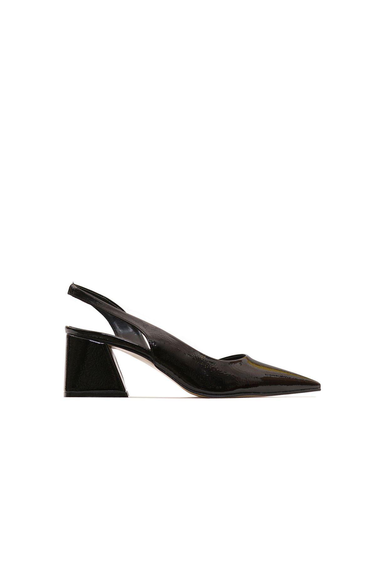 Kadın Kırışık Rugan Ayakkabı - Siyah