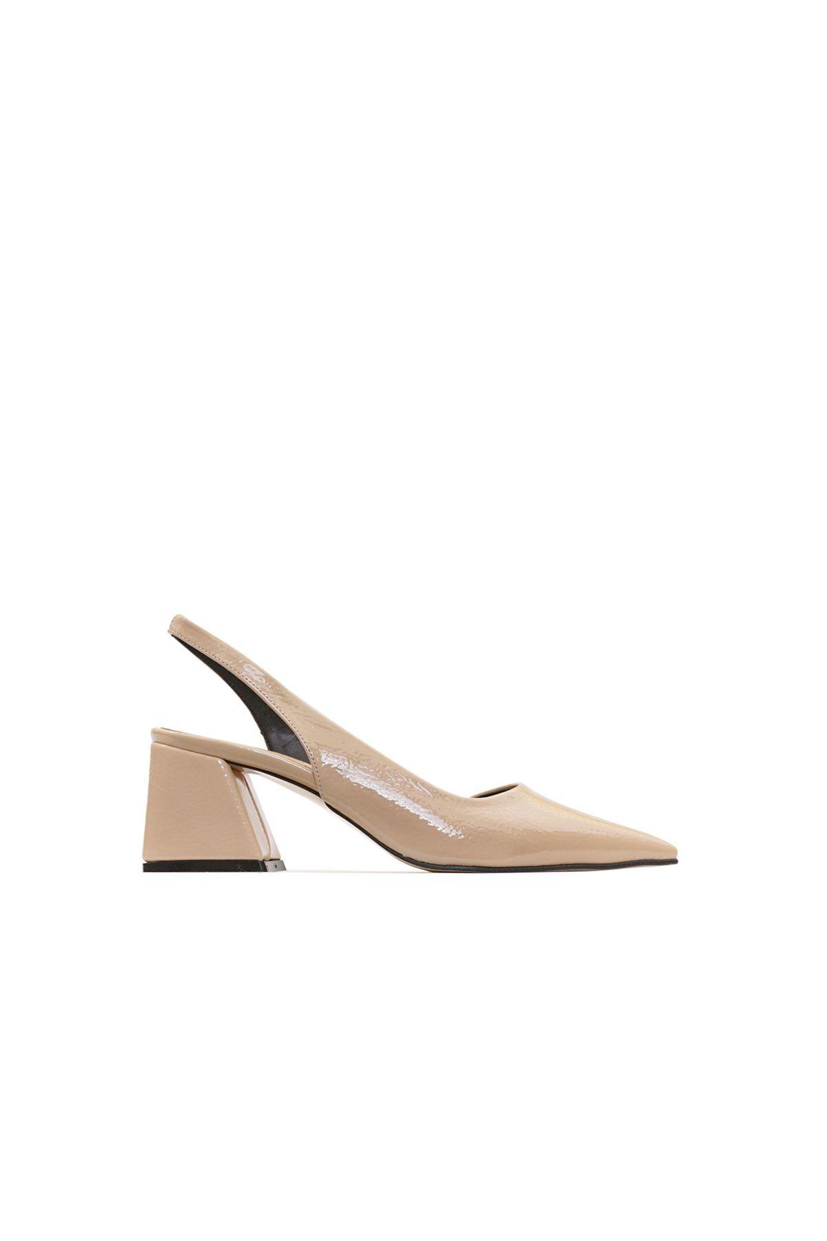 Kadın Kırışık Rugan Ayakkabı - Bej