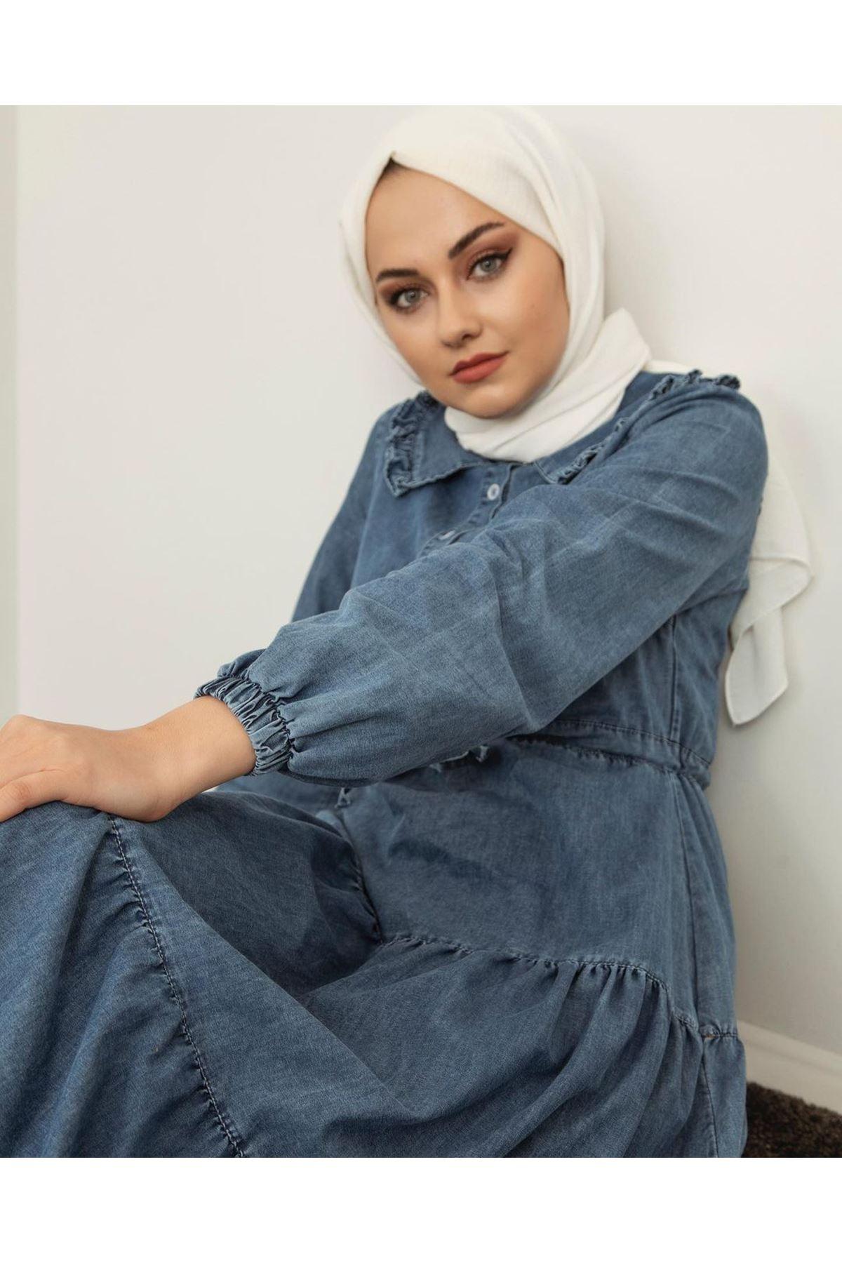 Kadın Kot Elbise - Açık Mavi