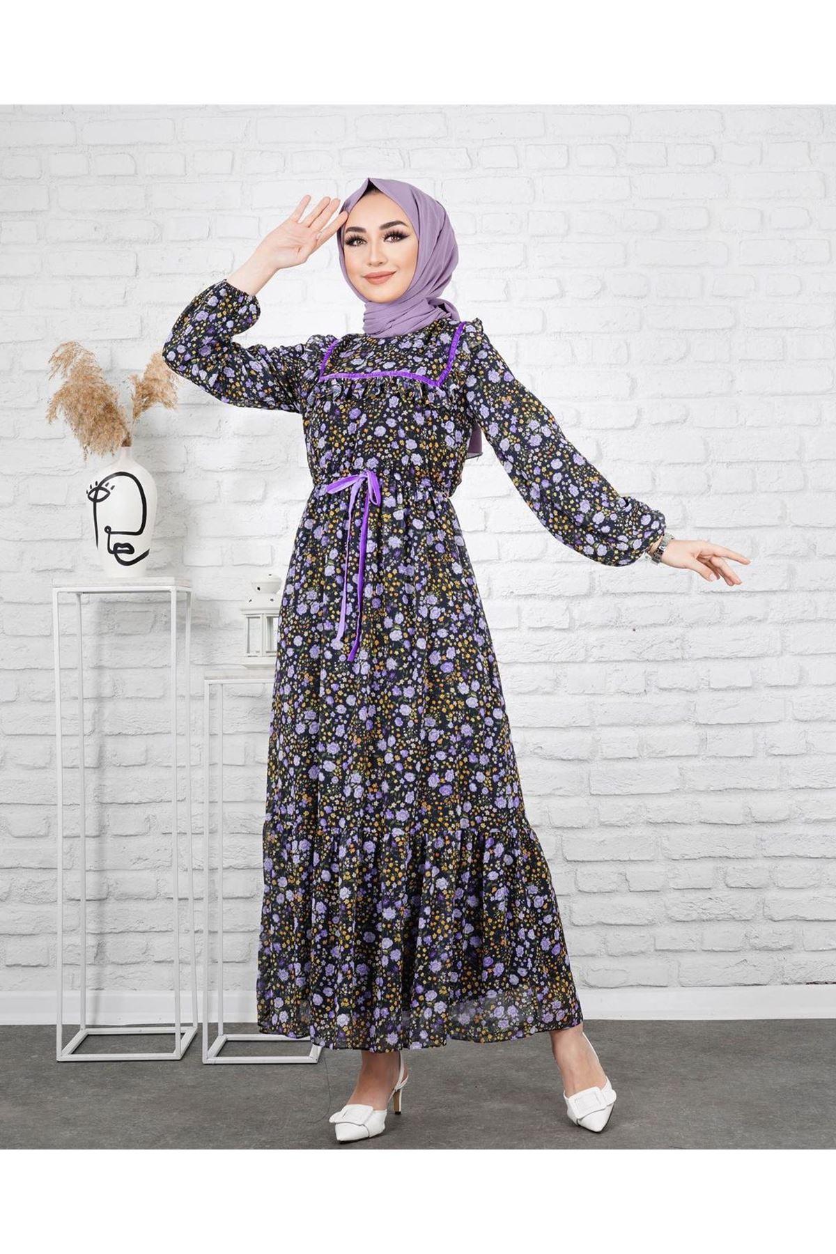 Kadın Desenli Beli Büzgülü Elbise - Siyah