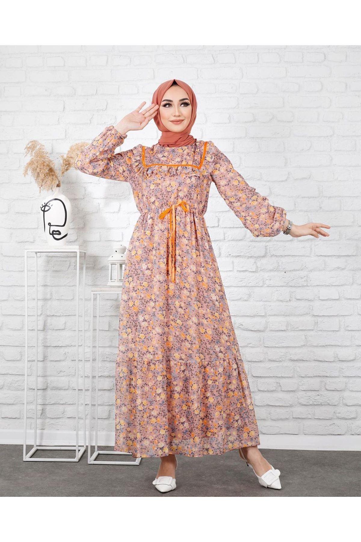Kadın Desenli Beli Büzgülü Elbise - Somon