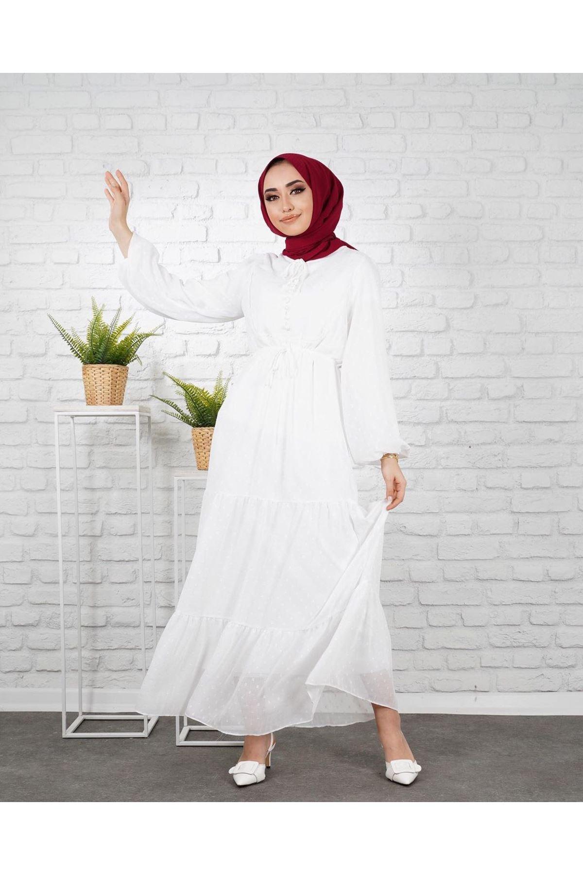 Kadın Puantiye İşlemeli Elbise - Beyaz