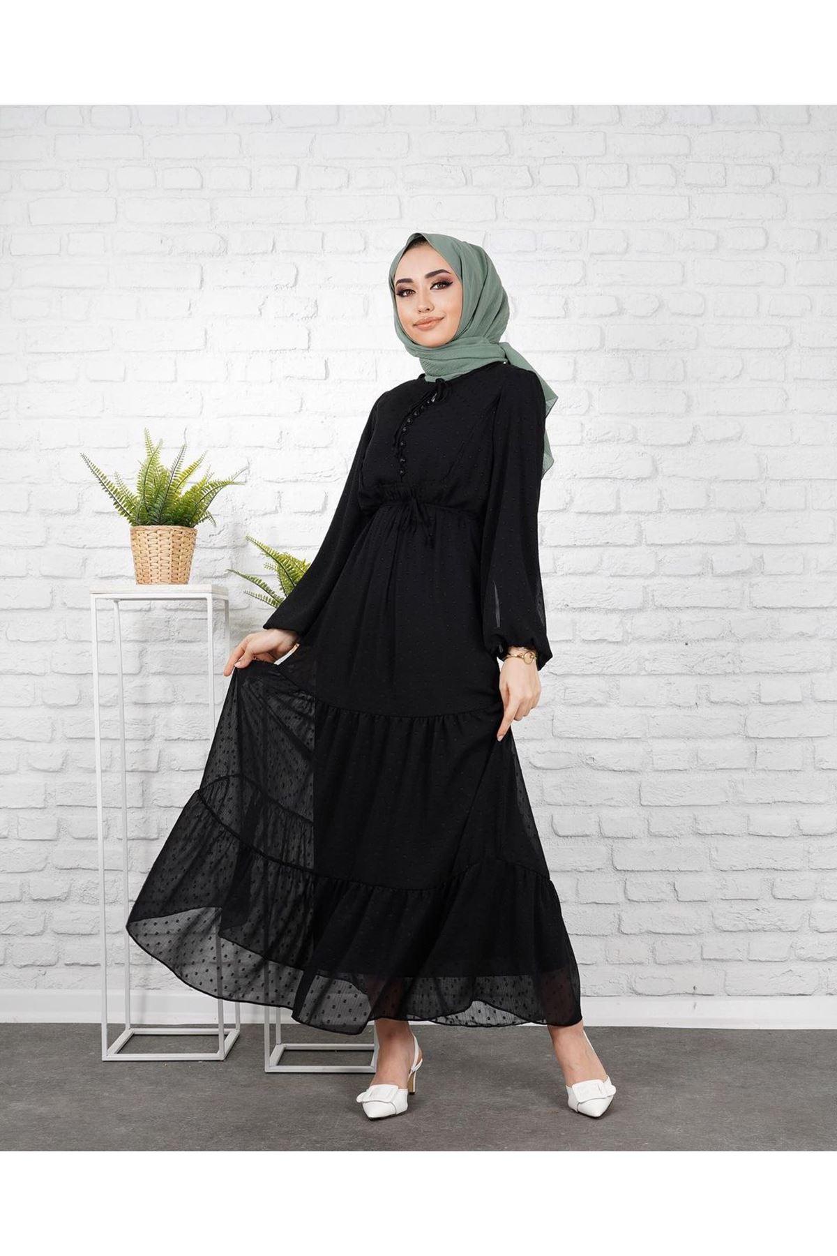 Kadın Puantiye İşlemeli Elbise - Siyah