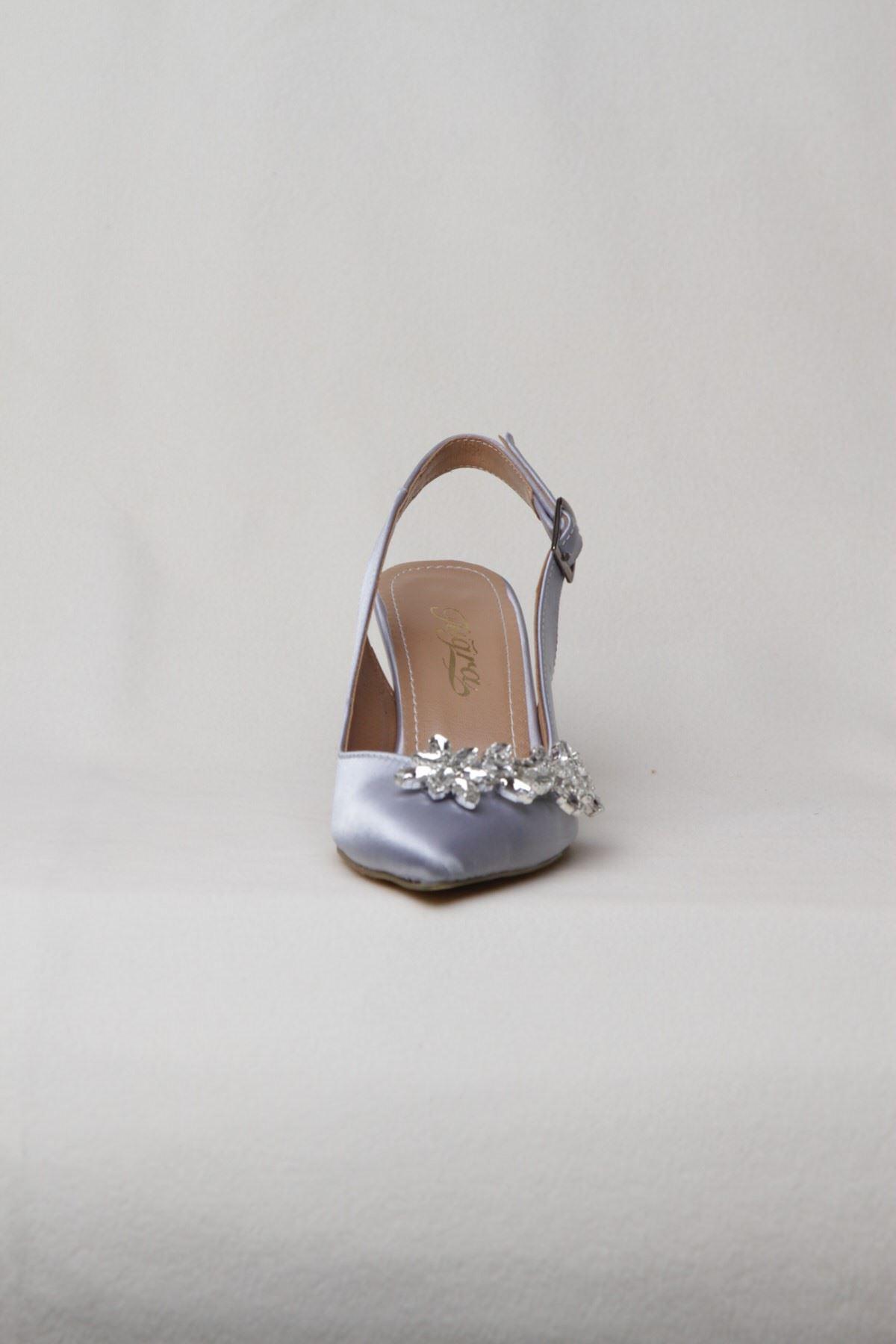 Kadın Taşlı Abiye Ayakkabı - Gümüş
