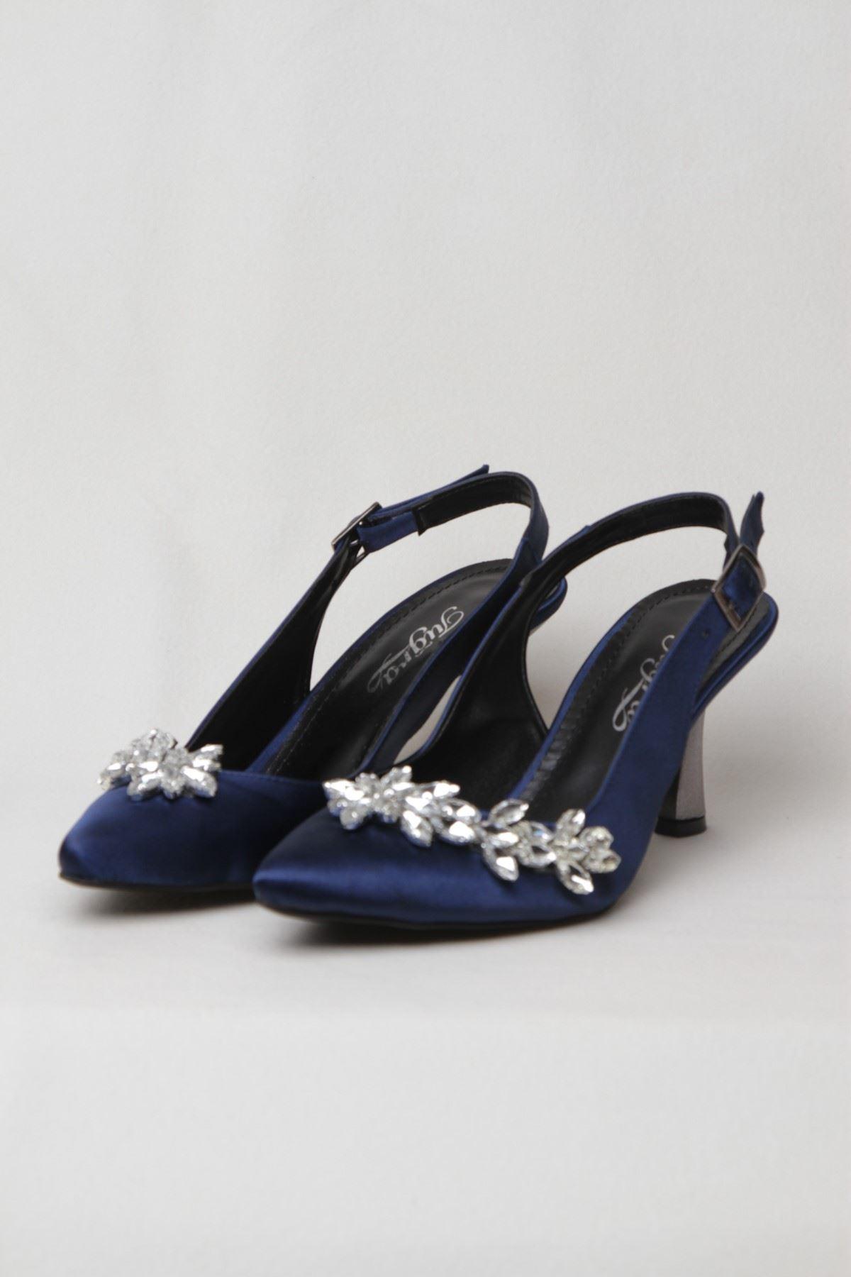 Kadın Taşlı Abiye Ayakkabı - Lacivert