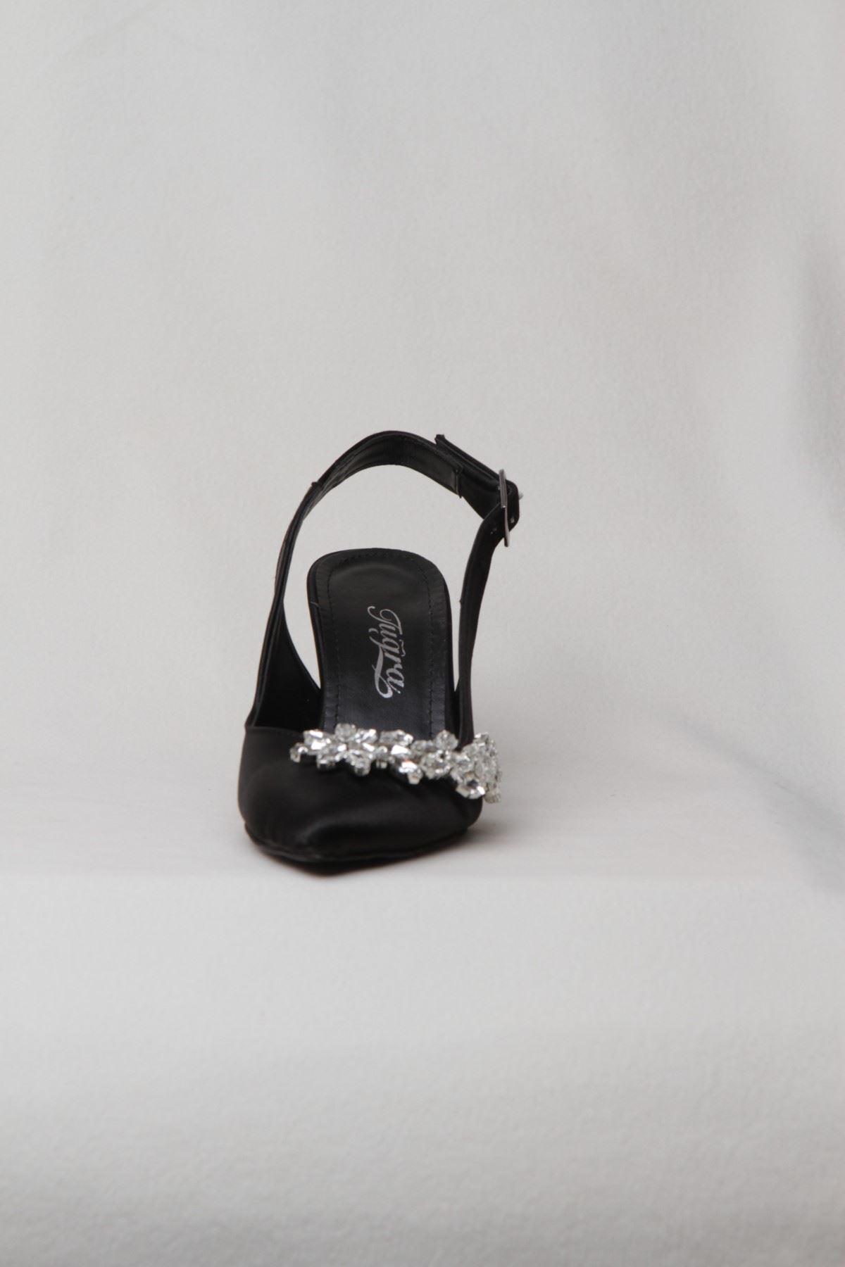 Kadın Taşlı Abiye Ayakkabı - Siyah