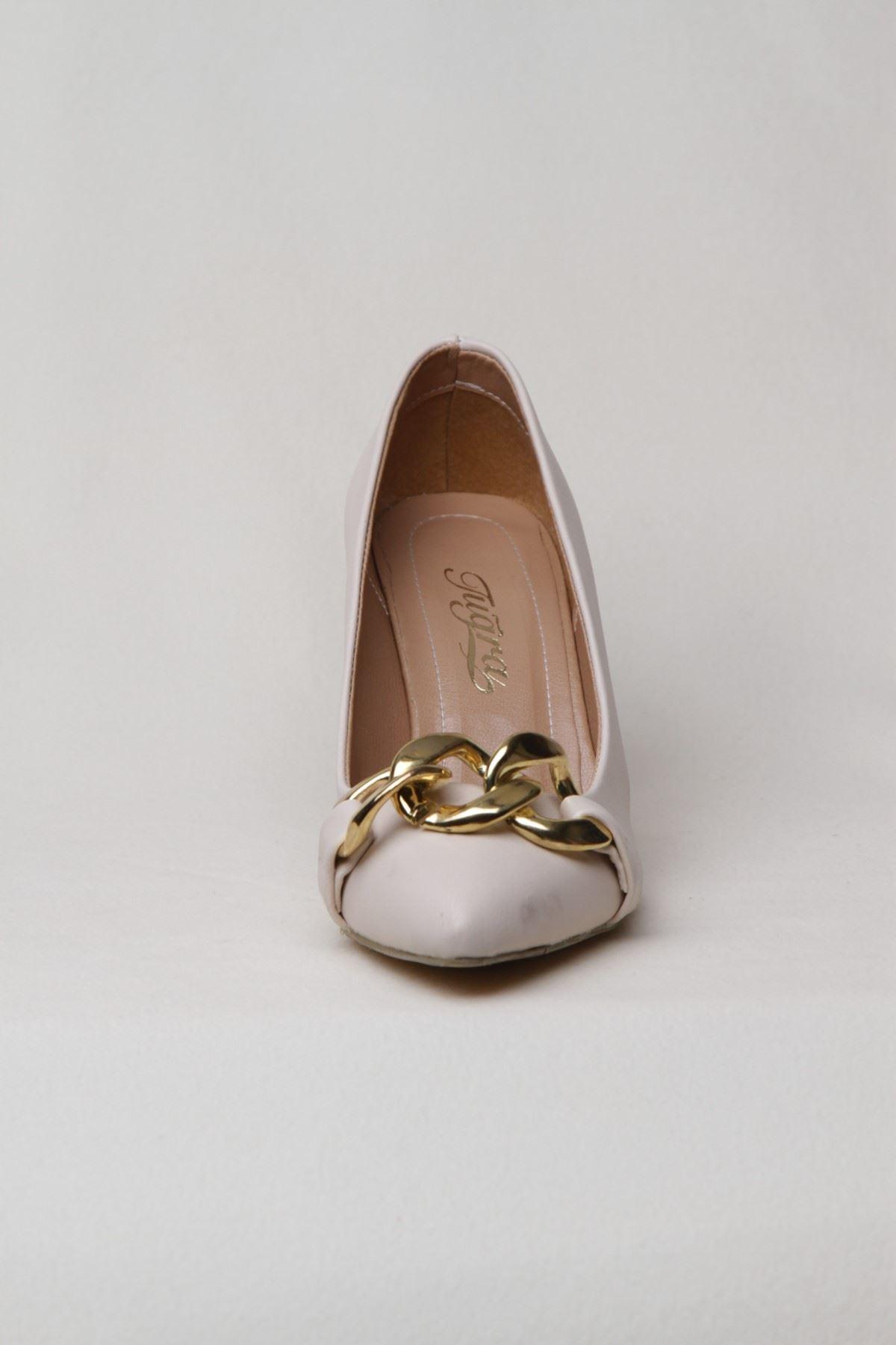 Kadın Zincir Detaylı Topuklu Abiye Ayakkabı - Bej