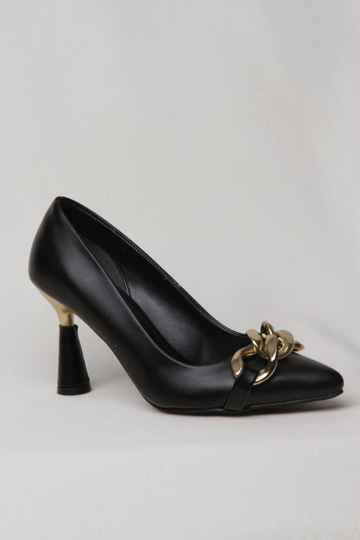 Kadın Zincir Detaylı Topuklu Abiye Ayakkabı - Siyah