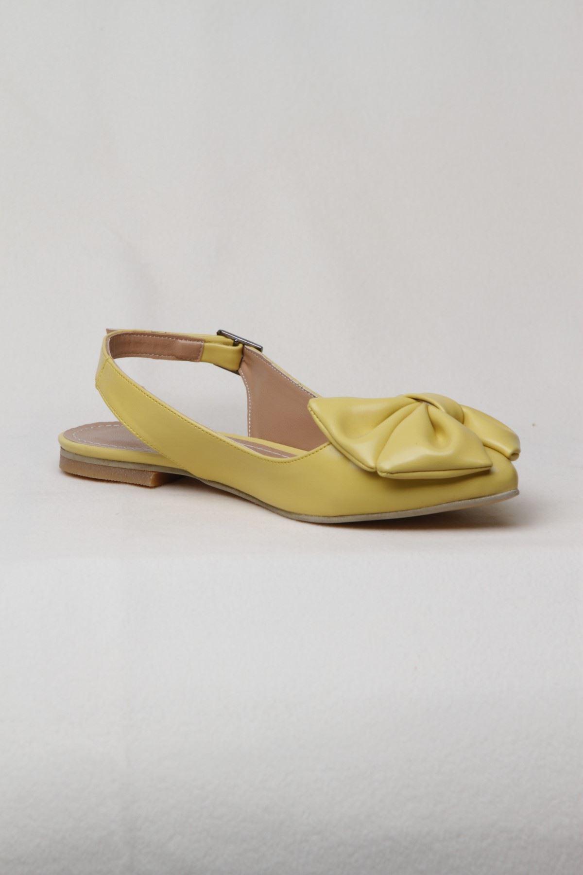 Kadın Kemerli Fiyonk Detaylı Babet - Sarı