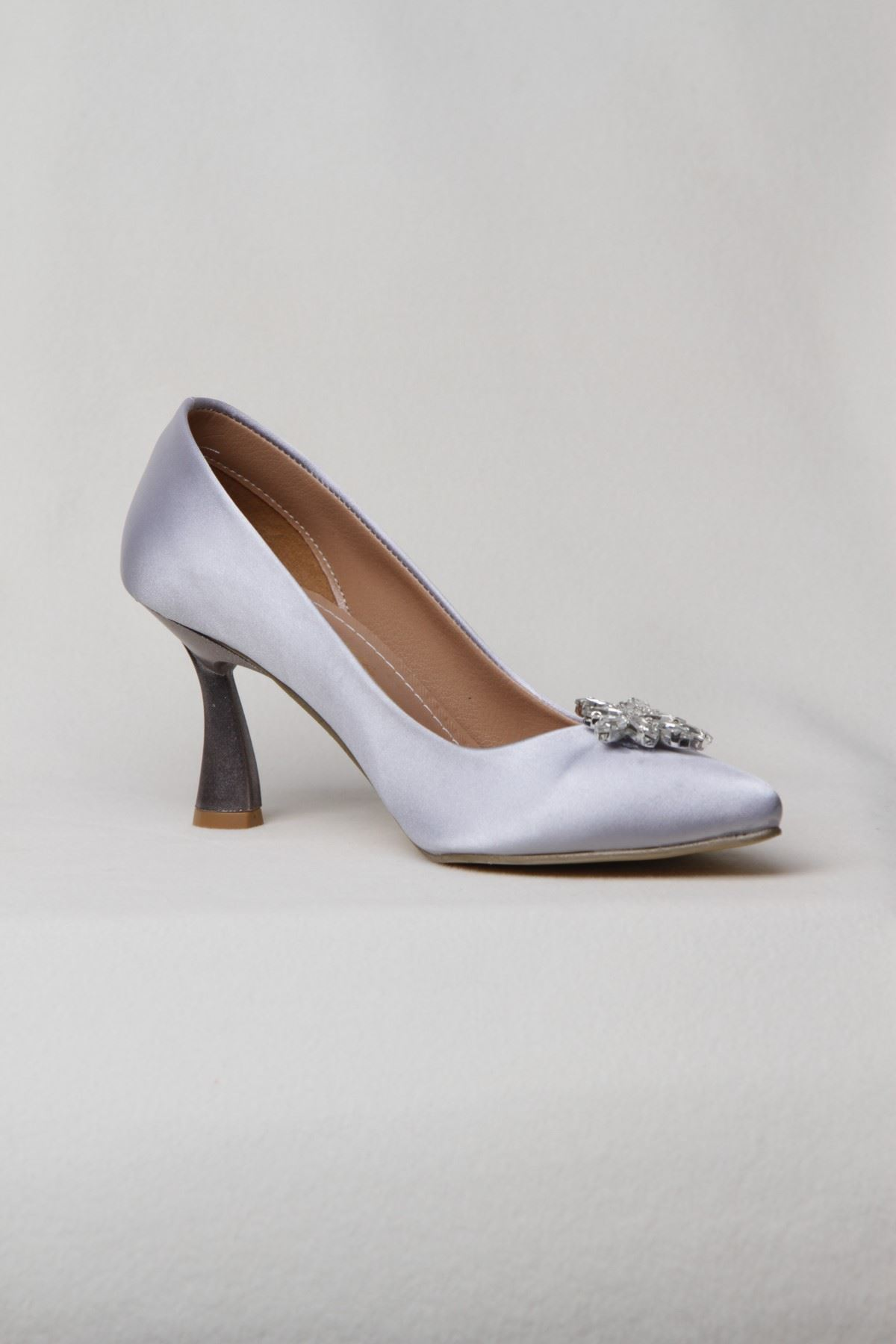 Kadın Yaprak Taşlı Yüksek Topuklu  Abiye Ayakkabı - Gümüş