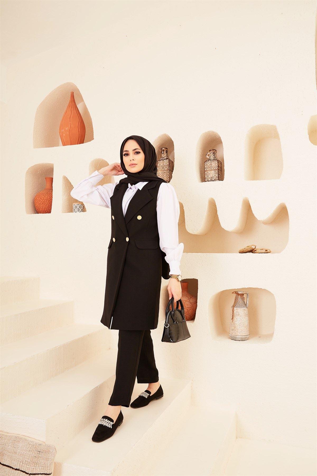 Kadın Business Yelek Pantolon Takım - Siyah