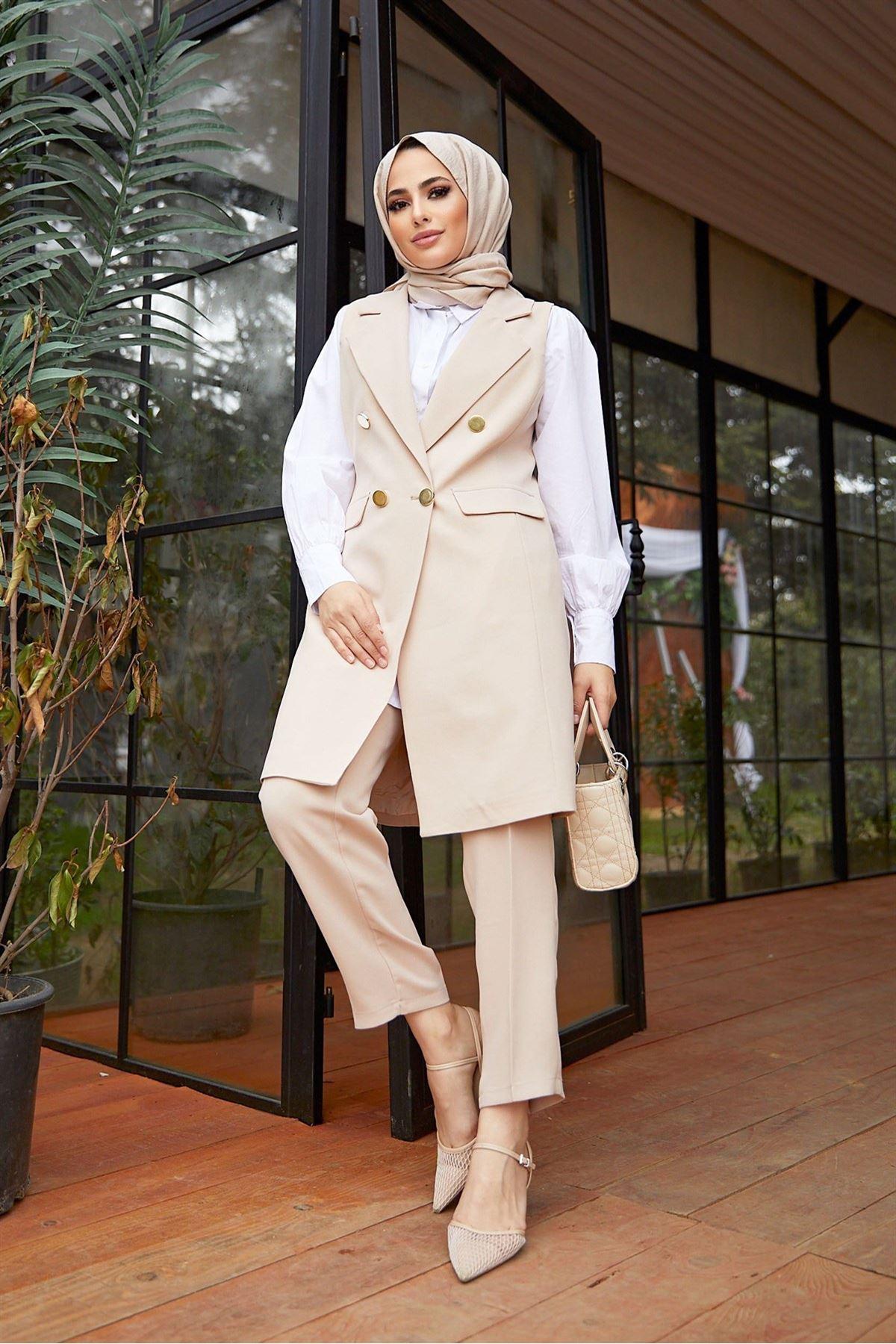 Kadın Business Yelek Pantolon Takım - Bej
