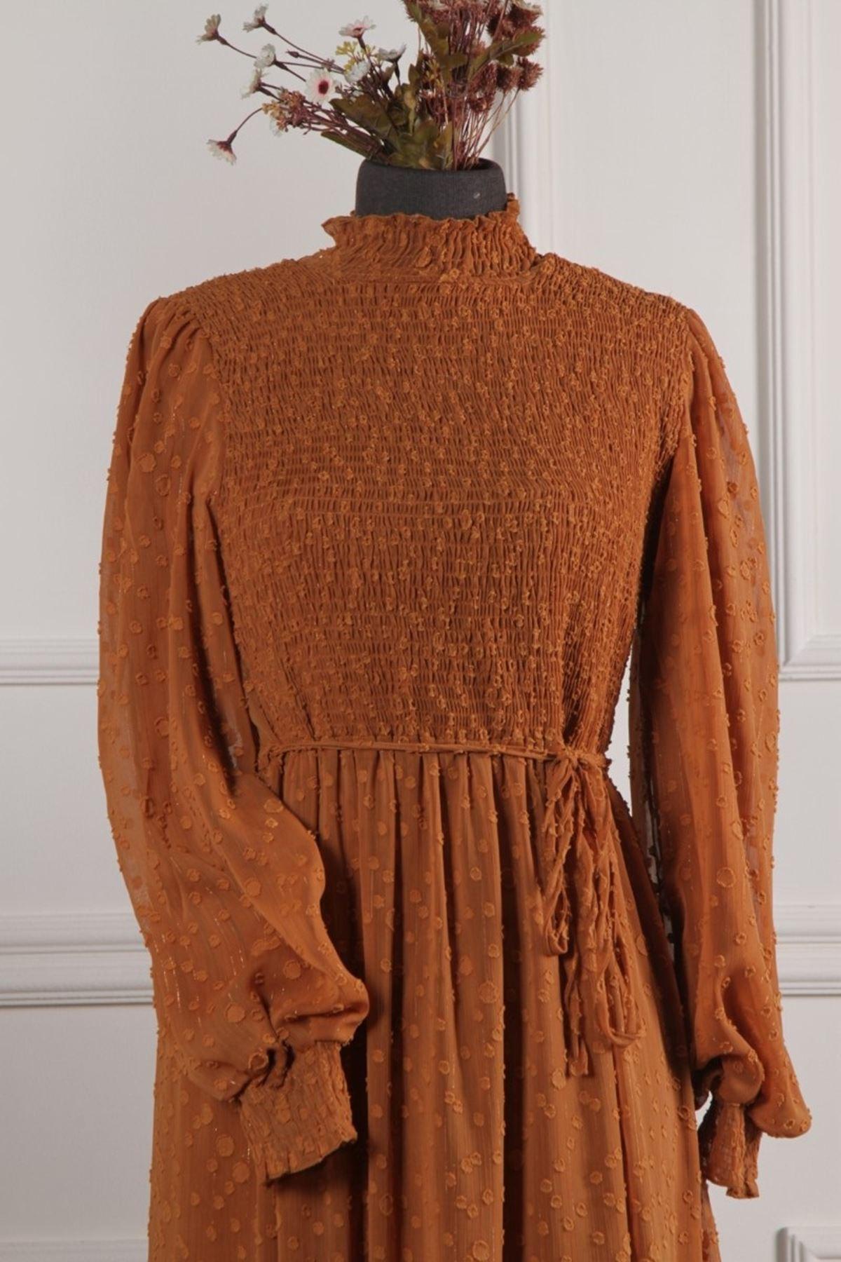 Kadın Kol Büzgülü İşleme Elbise - Kiremit