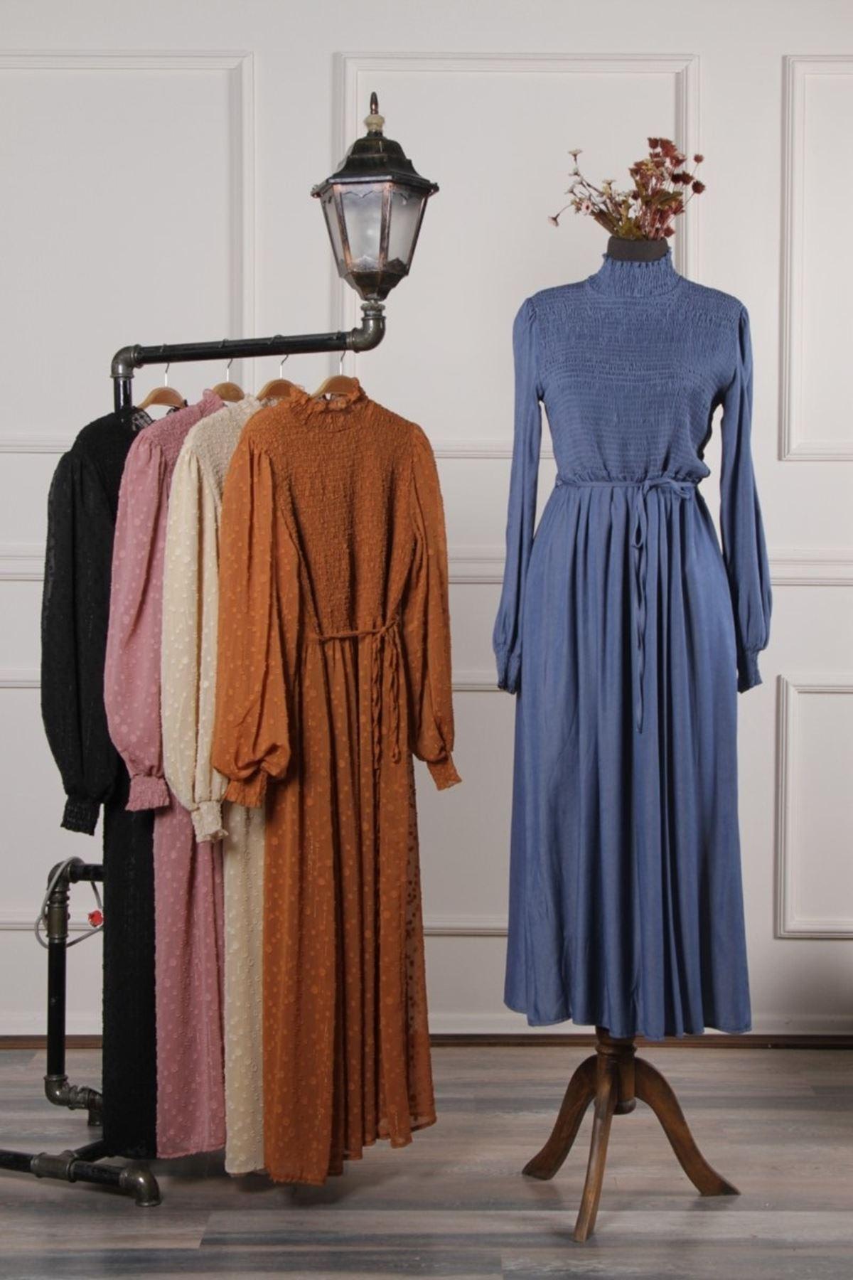 Kadın Yıkamalı Kot Elbise - Mavi
