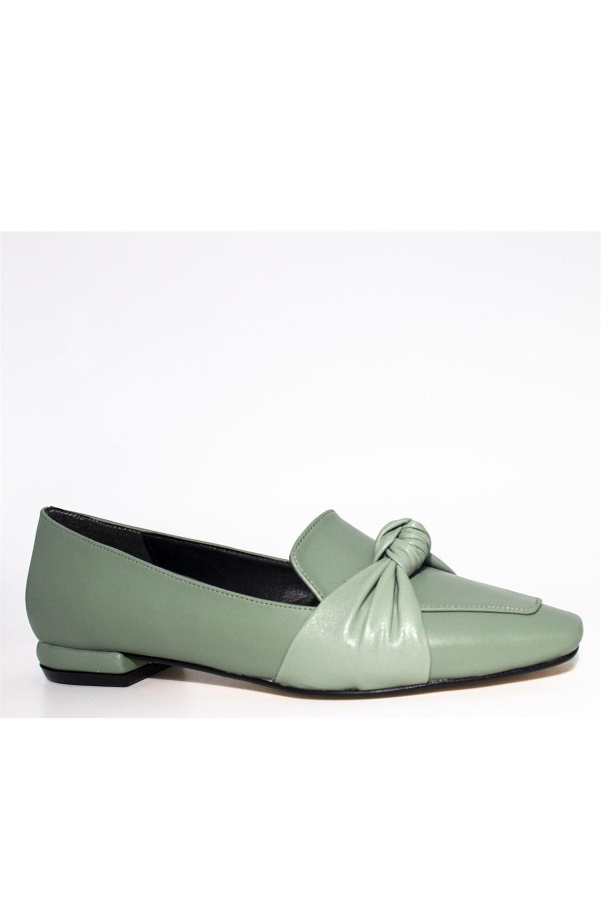 Kadın Önden Düğümlü Loafer Ayakkabı - Mint Yeşili