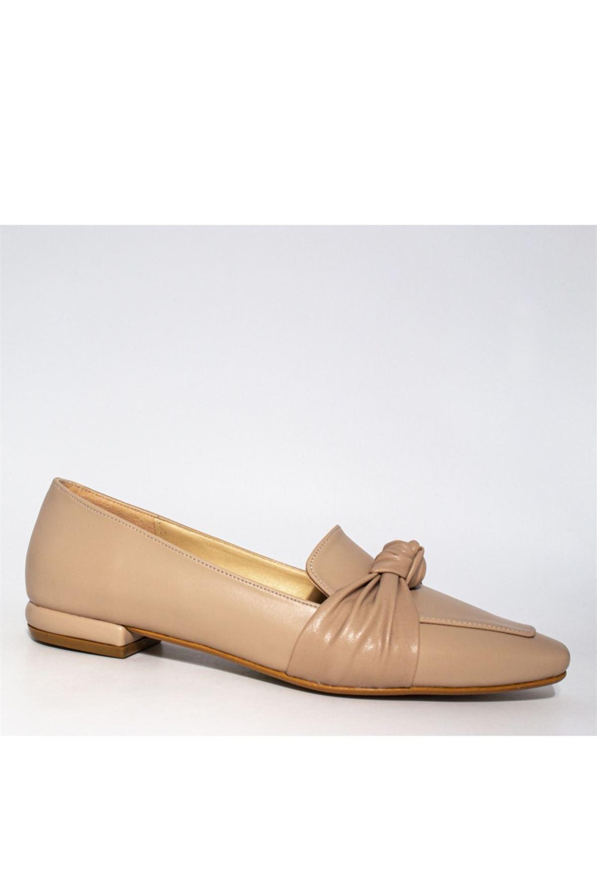 Kadın Önden Düğümlü Loafer Ayakkabı - Ten