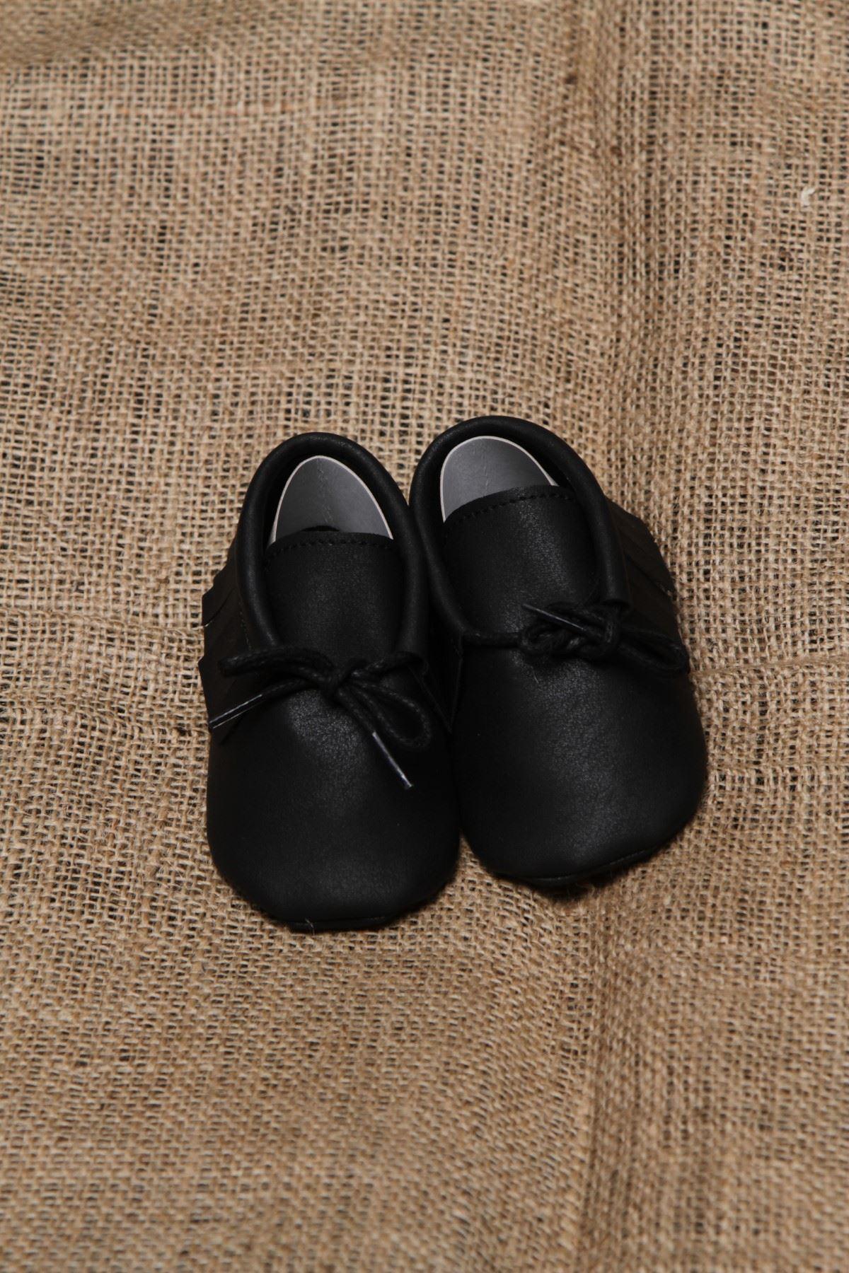 Baby Tuğra Bağcıklı Makosen Patik Bebek Ayakkabı - Siyah