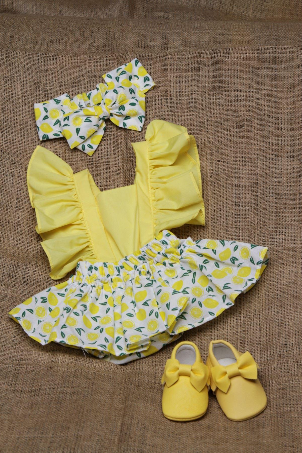 Baby Tuğra Bebek Salopet Elbise - Limon Sarısı
