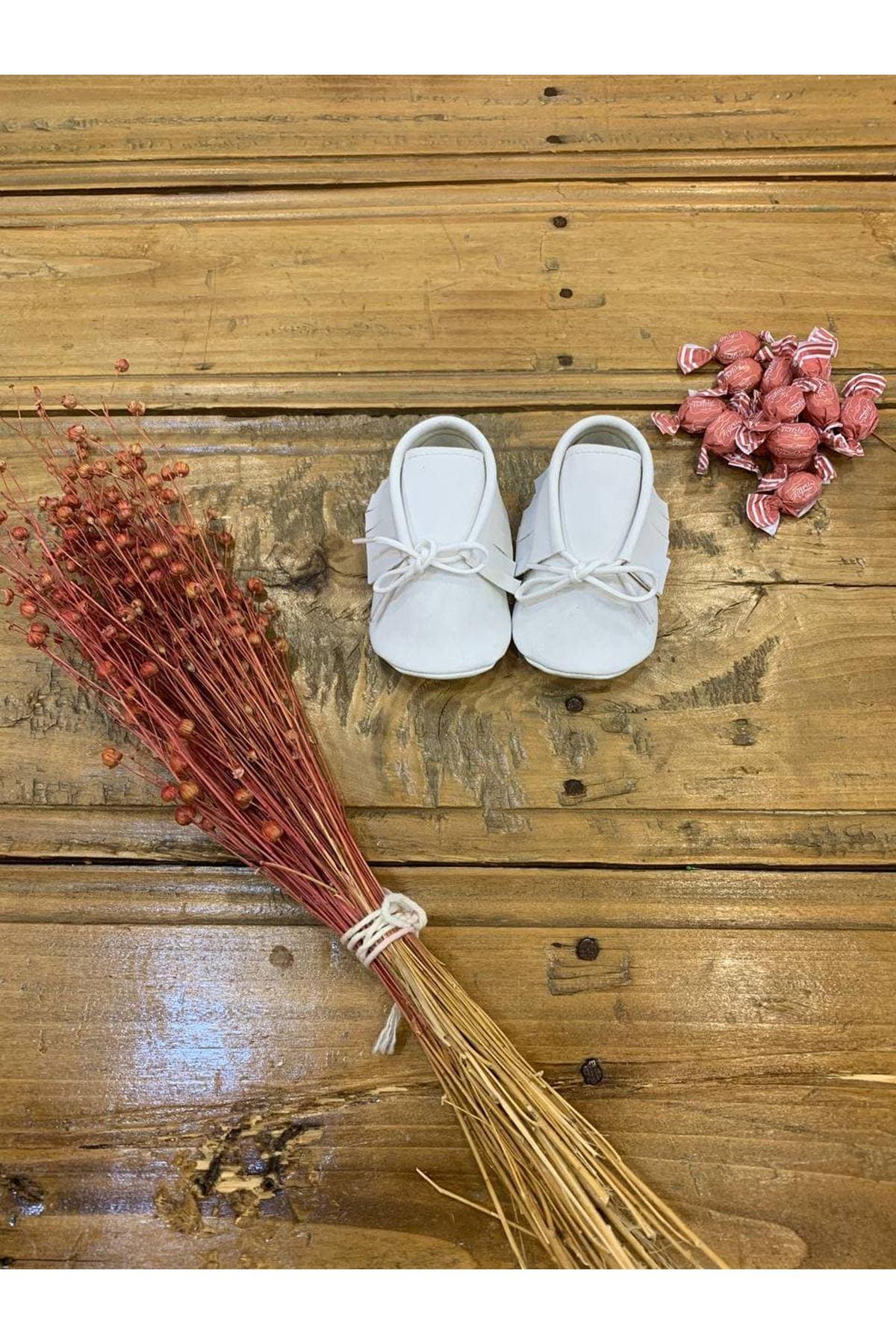 Baby Tuğra Bağcıklı Makosen Patik Bebek Ayakkabı - Beyaz