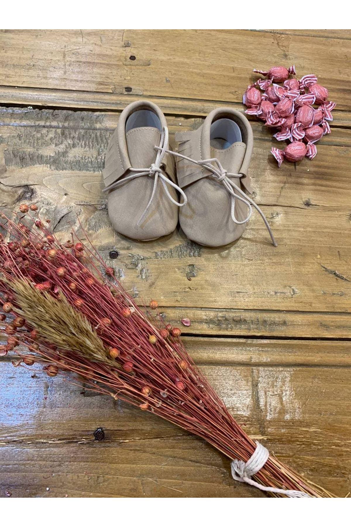 Baby Tuğra Bağcıklı Makosen Patik Bebek Ayakkabı - Bej