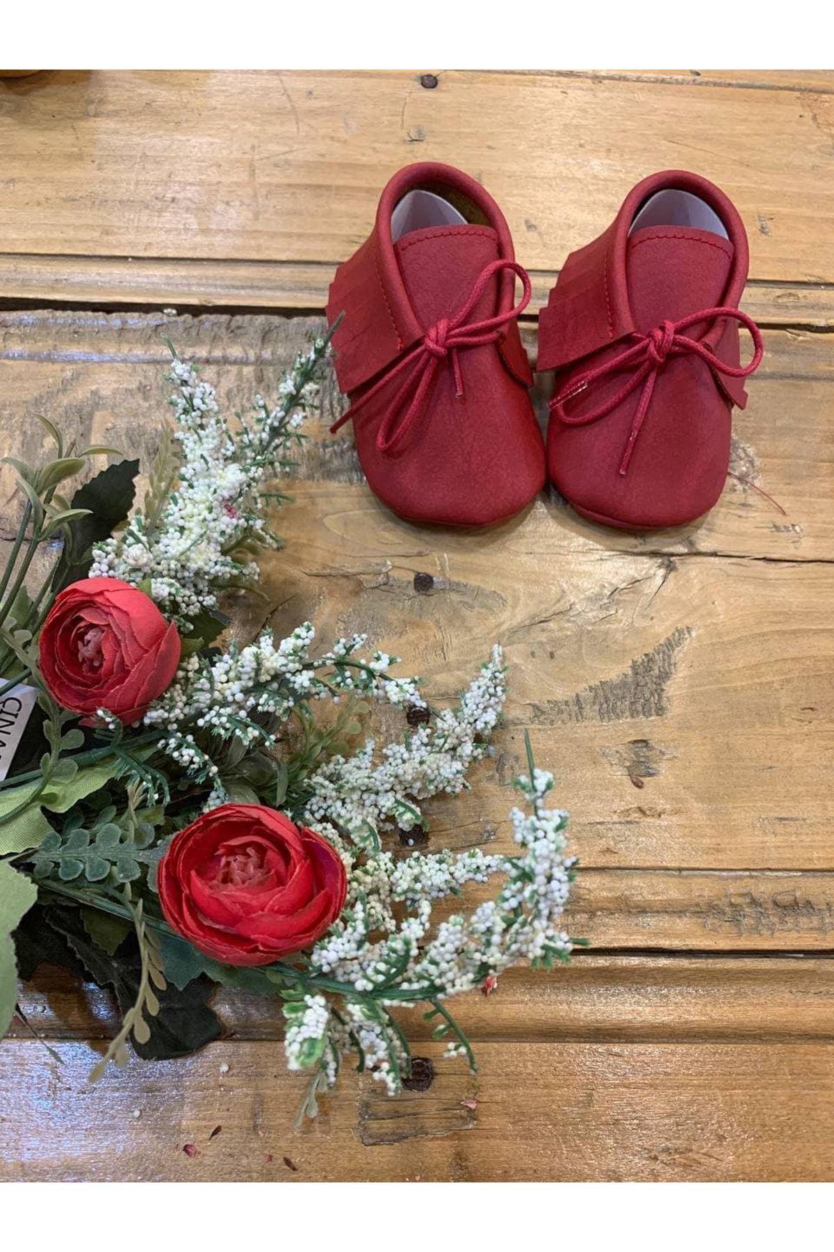 Baby Tuğra Bağcıklı Makosen Patik Bebek Ayakkabı - Kırmızı